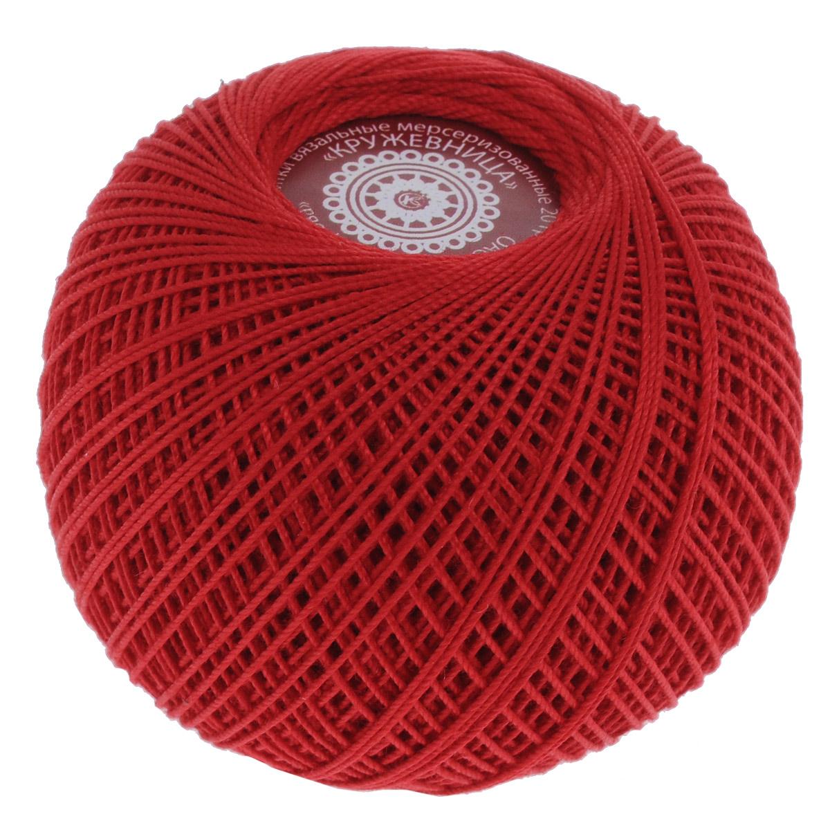 Нитки вязальные Кружевница, цвет: красный (0906), 195 м, 20 г, 2 шт0231101920778Мерсеризованные нитки Кружевница изготовлены из 100% хлопка и предназначены для создания воздушных легких кружев и тончайших элементов одежды. Подходят для вязания крючком, спицами. В наборе - 2 клубка. С их помощью вы сможете связать своими руками необычные и красивые вещи. Состав: 100% хлопок. Количество сложений: 3. Линейная плотность: 102 текс. Вес: 20 г. Длина нити: 195 м.