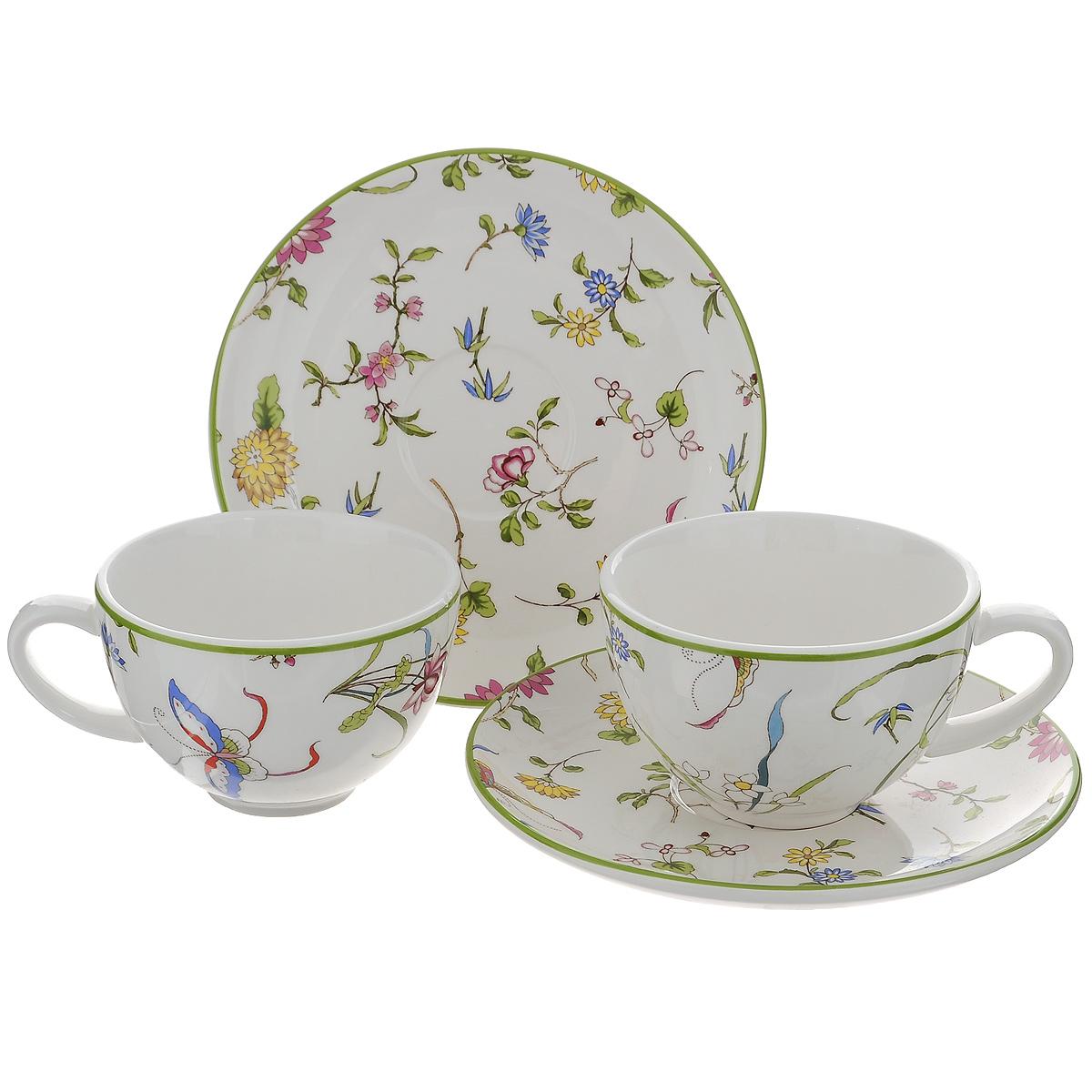 Набор чайный Korall Корсика, 4 предмета798978Чайный набор Korall Корсика состоит из 2 чашек и 2 блюдец. Изделия выполнены из высококачественной керамики белого цвета и украшены изображением цветов. Изящный чайный набор прекрасно оформит стол к чаепитию и станет замечательным подарком для любой хозяйки. Объем чашки: 200 мл. Диаметр чашки (по верхнему краю): 9,5 см. Высота чашки: 6,5 см. Диаметр блюдца: 16 см.