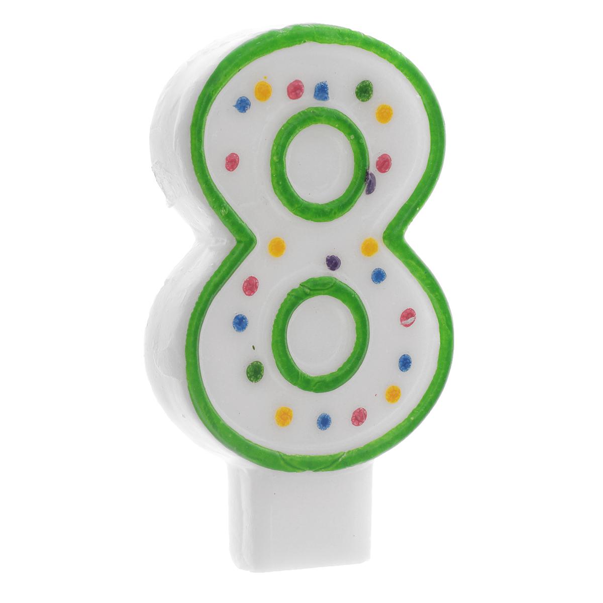 Свеча-цифра для торта Wilton Цифра 8, цвет: зеленый, высота 7,6 смWLT-2811-9108Свеча-цифра для торта Wilton Цифра 8 изготовлена из высококачественного воска. Это отличное решение для декорирования торта к празднику. Ее можно комбинировать с другими цифрами. Изделие хорошо и долго горит. С этой свечой ваш праздник станет еще удивительнее и веселее. Высота свечи (без учета фитиля): 7,6 см.