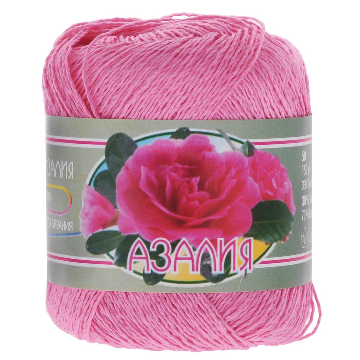 Нитки вязальные Азалия, комбинированные, цвет: ярко-розовый (0801), 150 м, 50 г, 4 шт0211902913778Нитки вязальные Азалия, изготовленные из 30% хлопка и 70% вискозы, предназначены для создания несложных рисунков. Сфера использования ниток широка: при вязании спицами и крючком. Из такой нити очень хорошо получаются верхний трикотаж, шали, палантины, шарфы и многое другое. Наличие вискозы придает ниткам сильный и яркий блеск, что делает готовые изделия сверкающими. Изделия после стирки не садятся и не тянутся, отлично держат форму. Азалия - это очень качественная ниточка, вязка получается плотная и гладкая. Состав: 30% хлопок, 70% вискоза. Количество сложений: 8. Линейная плотность: 330 текс. Вес: 50 г. Длина нити: 150 м.