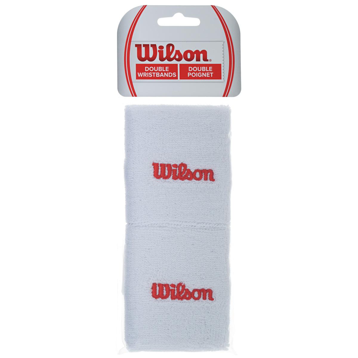 Напульсник Wilson Double Wristband, цвет: белый, 2 шт. Размер универсальныйWR5600310Сверхширокие напульсники Wilson Double Wristband выполнены из футера и украшены вышивкой Wilson. Полностью поглощают влагу, обеспечивая максимальный комфорт во время игры и тренировок.