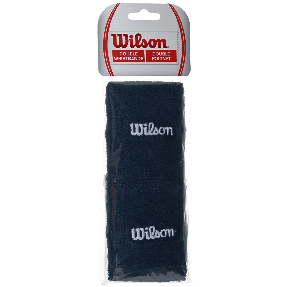 "Wilson Напульсник Wilson ""Double Wristband"", цвет: черный, 2 шт. Размер универсальный"