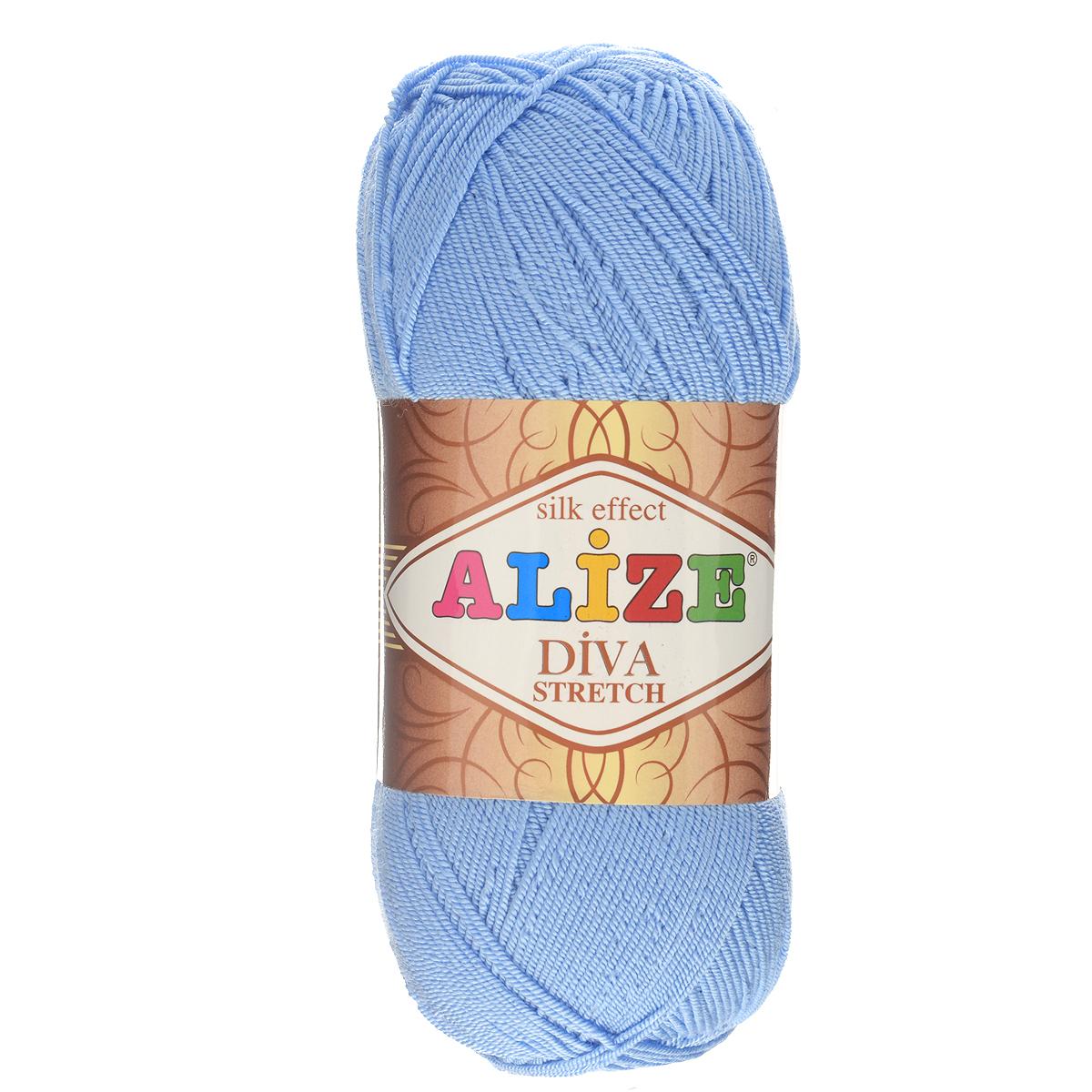Пряжа для вязания Alize Diva Stretch, цвет: голубой (350), 400 м, 100 г, 5 шт367021_350Легкая пряжа Alize Diva Stretch из микрофибры с добавлением ПБТ эластика. Пряжа не выгорает на солнце и не линяет. Готовые изделия из этой пряжи быстро сохнут, после намокания практически не деформируются. Эластичная пряжа Diva Stretch обладает поистине уникальными характеристиками. Она мягкая, тонкая и в то же время прочная, она легко ложится в приятное на ощупь, упругое, тянущееся, но сохраняющее свою форму полотно и отлично смотрится в узорах. Изделия, связанные из этой пряжи, прекрасно держат форму и не растягиваются. Пряжа стрейч. Готовое изделие из пряжи Alize Diva Stretch после первой стирки слегка садится. Поэтому, перед тем, как начать работать с этой нитью, рекомендуется связать образец, постирать и высушить его, выяснить степень усадки и только потом, с учетом этих данных, делать расчет петель. Рекомендованные спицы № 2-3,5, крючок № 1-3. Состав: 92% микрофибра (акрил), 8% ПБТ эластик.