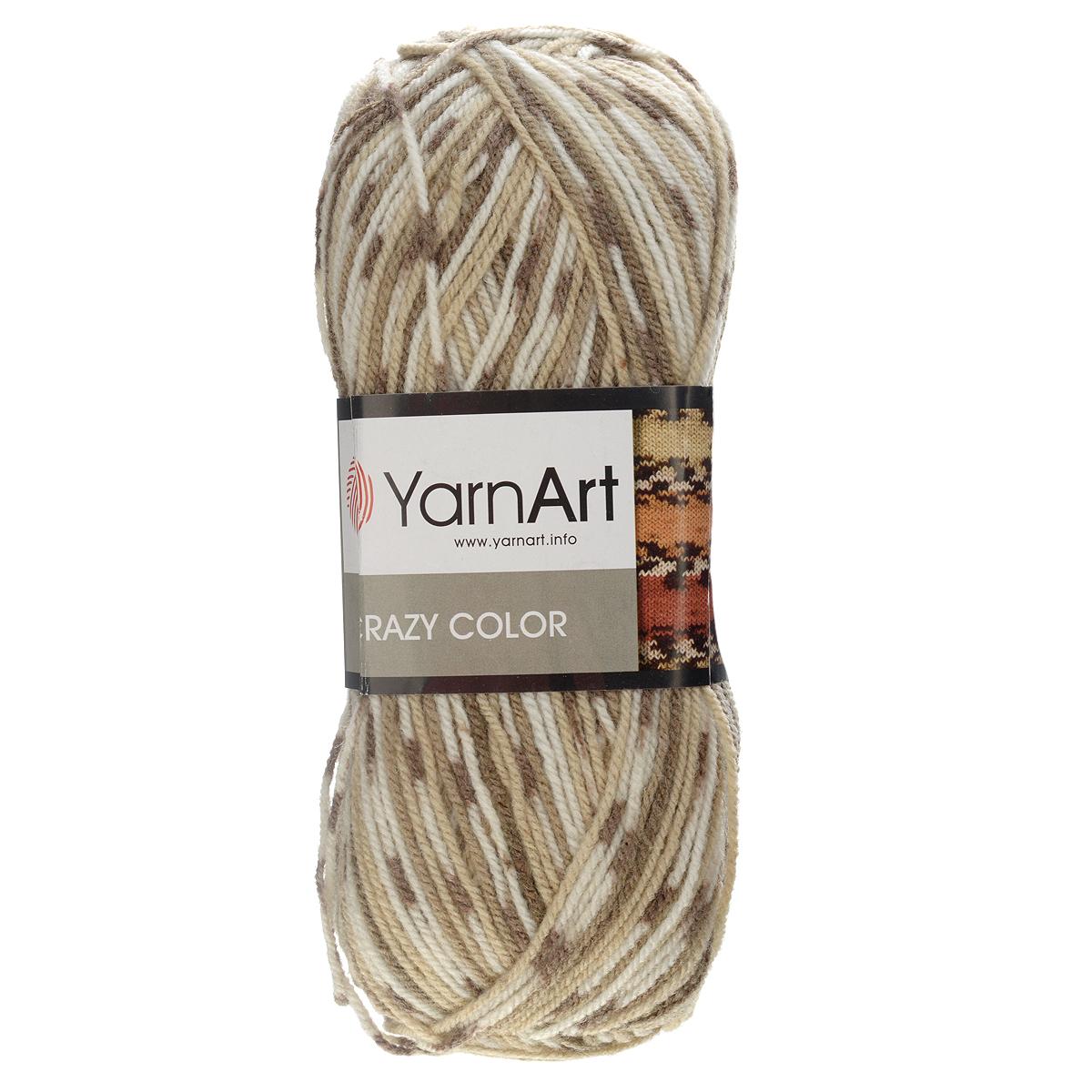 Пряжа для вязания YarnArt Crazy Color, цвет: белый, коричневый, 260 м, 100 г, 5 шт пряжа для вязания yarnart baby color цвет белый черный 273 150 м 50 г 5 шт