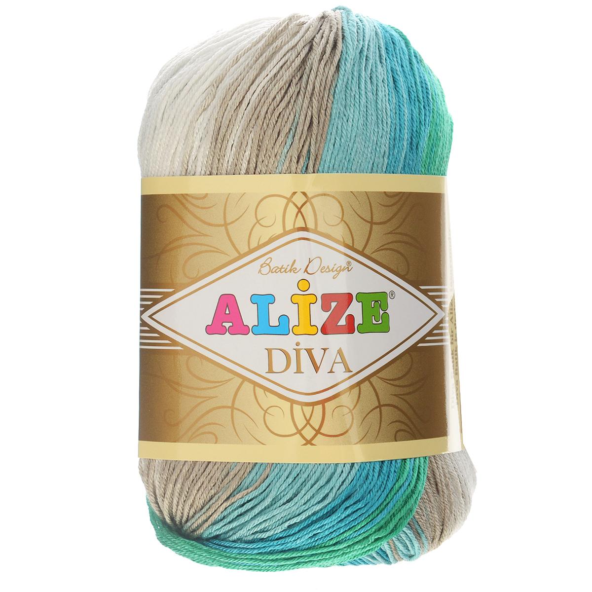 Пряжа для вязания Alize Diva. Batik Design, цвет: зеленый, желтый, серый (4117), 350 м, 100 г, 5 шт364119_4117Пряжа для вязания Alize Diva. Batik Design- это тщательно обработанная акриловая пряжа, которая приобретает вид мерсеризованной нити с эффектом шелка. Пряжа обладает отличными свойствами: мягкая, воздухопроницаемая, прочная. Пряжа из микрофибры считается материалом нового поколения. Легкая шелковистая пряжа удлиненной секции окрашивания для весенних или летних вещей. Приятная на ощупь, гигроскопичная она подойдет для сарафанов, туник, платьев, легких костюмов, кофт, шалей и накидок. Пряжа не скатывается, не вызывает аллергию, не линяет и не оставляет ворсинок на другой одежде. Рекомендации по уходу: деликатная ручная стирка при 30°С, не отжимать в стиральной машине, не отбеливать хлорсодержащими веществами. Глажение на минимальной температуре. Сушите на горизонтальной поверхности: предварительно придав изделию естественную форму. Рекомендованный размер спиц: №2,5-3,5. Рекомендованный размер крючка: №1-3. Толщина нити: 1 мм.