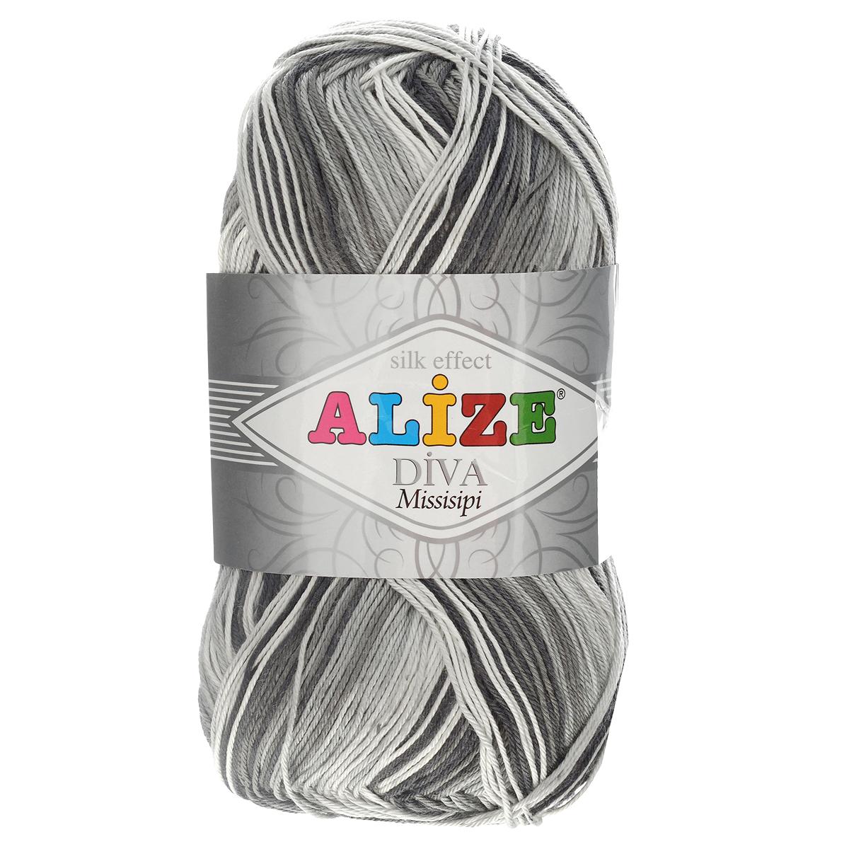 Пряжа для вязания Alize Diva. Missisipi, цвет: белый, серый, черный (3730), 350 м, 100 г, 5 шт367020_3730Пряжа для вязания Alize Diva. Missisipi- это тщательно обработанная акриловая пряжа, которая приобретает вид мерсеризованной нити с эффектом шелка. Пряжа обладает отличными свойствами: мягкая, воздухопроницаемая, прочная. Пряжа из микрофибры считается материалом нового поколения. Легкая шелковистая пряжа удлиненной секции окрашивания для весенних или летних вещей. Приятная на ощупь, гигроскопичная она подойдет для сарафанов, туник, платьев, легких костюмов, кофт, шалей и накидок. Пряжа не скатывается, не вызывает аллергию, не линяет и не оставляет ворсинок на другой одежде. Рекомендации по уходу: деликатная ручная стирка при 30°С, не отжимать в стиральной машине, не отбеливать хлорсодержащими веществами. Глажение на минимальной температуре. Сушите на горизонтальной поверхности: предварительно придав изделию естественную форму. Рекомендованный размер спиц: №2,5-3,5. Рекомендованный размер крючка: №1-3.