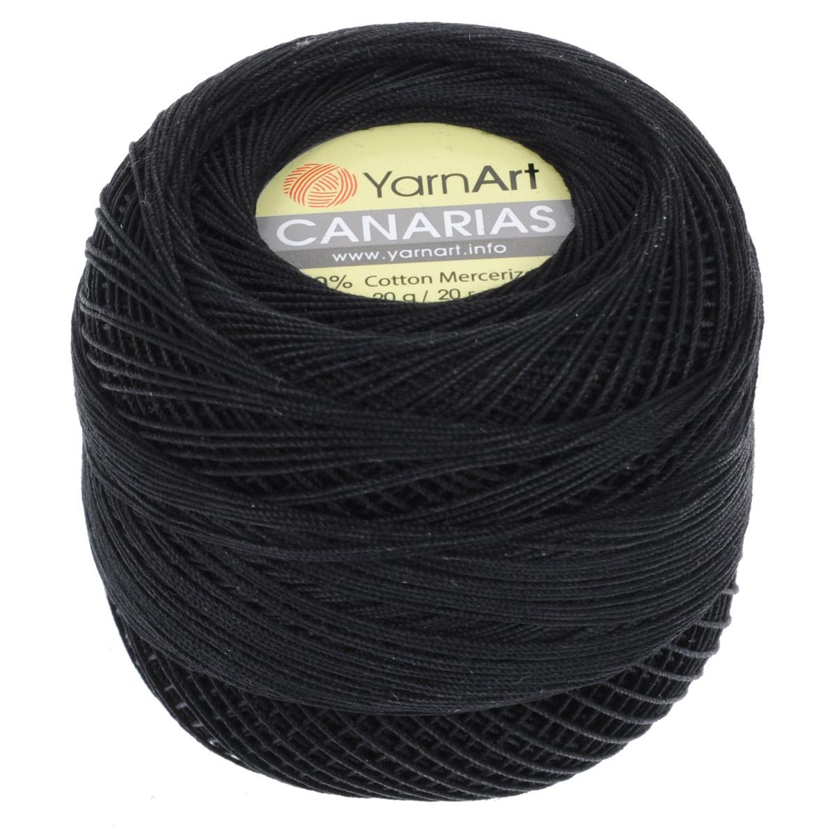 Пряжа для вязания YarnArt Canarias, цвет: черный (9999), 203 м, 20 г, 10 шт372079_9999Пряжа для вязания YarnArt Canarias изготовлена из мерсеризованного хлопка. Ультратонкая почти катушечная пряжа, нить шелковистая, блестящая, ровная без узелков, очень плотной крутки. Пряжа YarnArt Canarias - однотонной окраски с шелковистым блеском. Она прекрасно подойдет для вязания ажурных кружев, салфеток, скатерок, шалей, шляп и т.д. Пряжа натуральная, гипоаллегренная, экологичная, поэтому подходит для детских изделий. Легкий блеск и шелковистая текстура пряжи гарантируют превосходный результат. Пряжа окрашена стойкими качественными красителями, не линяет. Рекомендуются спицы и крючок 0,5-1,5 мм. Состав: 100% хлопок.