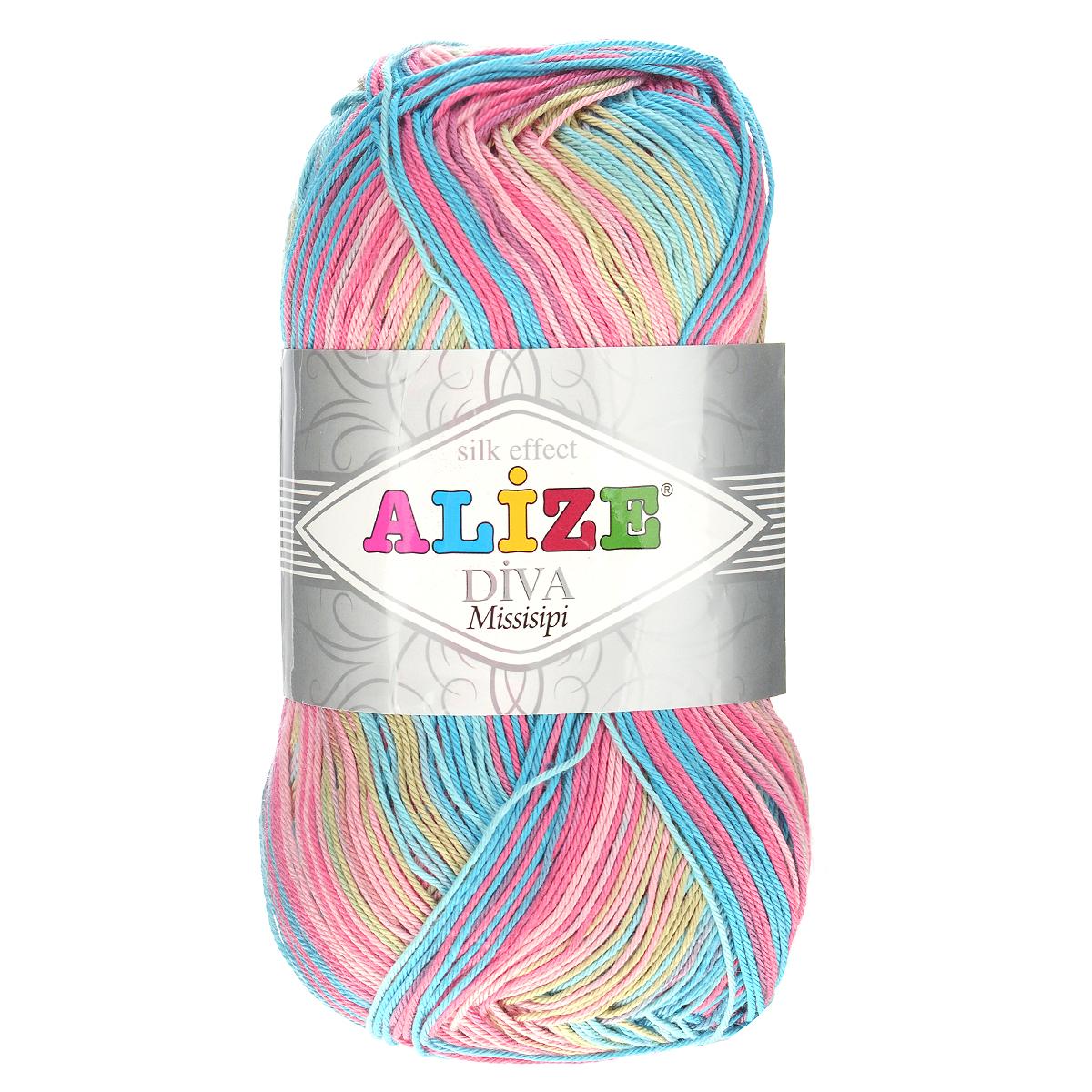Пряжа для вязания Alize Diva. Missisipi, цвет: розовый, желтый, зеленый (4587), 350 м, 100 г, 5 шт367020_4587Пряжа для вязания Alize Diva. Missisipi- это тщательно обработанная акриловая пряжа, которая приобретает вид мерсеризованной нити с эффектом шелка. Пряжа обладает отличными свойствами: мягкая, воздухопроницаемая, прочная. Пряжа из микрофибры считается материалом нового поколения. Легкая шелковистая пряжа удлиненной секции окрашивания для весенних или летних вещей. Приятная на ощупь, гигроскопичная она подойдет для сарафанов, туник, платьев, легких костюмов, кофт, шалей и накидок. Пряжа не скатывается, не вызывает аллергию, не линяет и не оставляет ворсинок на другой одежде. Рекомендации по уходу: деликатная ручная стирка при 30°С, не отжимать в стиральной машине, не отбеливать хлорсодержащими веществами. Глажение на минимальной температуре. Сушите на горизонтальной поверхности: предварительно придав изделию естественную форму. Рекомендованный размер спиц: №2,5-3,5. Рекомендованный размер крючка: №1-3.