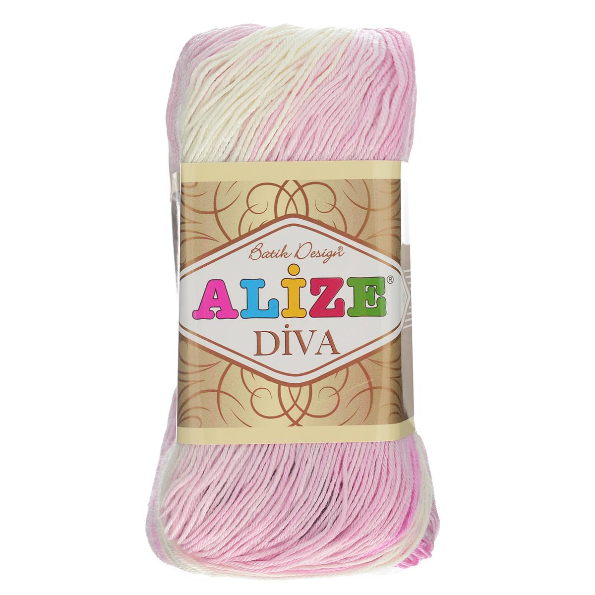 Пряжа для вязания Alize Diva. Batik Design, цвет: розовый, белый, серый (3245), 350 м, 100 г, 5 шт364119_3245Пряжа для вязания Alize Diva. Batik Design- это тщательно обработанная акриловая пряжа, которая приобретает вид мерсеризованной нити с эффектом шелка. Пряжа обладает отличными свойствами: мягкая, воздухопроницаемая, прочная. Пряжа из микрофибры считается материалом нового поколения. Легкая шелковистая пряжа удлиненной секции окрашивания для весенних или летних вещей. Приятная на ощупь, гигроскопичная она подойдет для сарафанов, туник, платьев, легких костюмов, кофт, шалей и накидок. Пряжа не скатывается, не вызывает аллергию, не линяет и не оставляет ворсинок на другой одежде. Рекомендации по уходу: деликатная ручная стирка при 30°С, не отжимать в стиральной машине, не отбеливать хлорсодержащими веществами. Глажение на минимальной температуре. Сушите на горизонтальной поверхности: предварительно придав изделию естественную форму. Рекомендованный размер спиц: №2,5-3,5. Рекомендованный размер крючка: №1-3. Толщина нити: 1 мм.