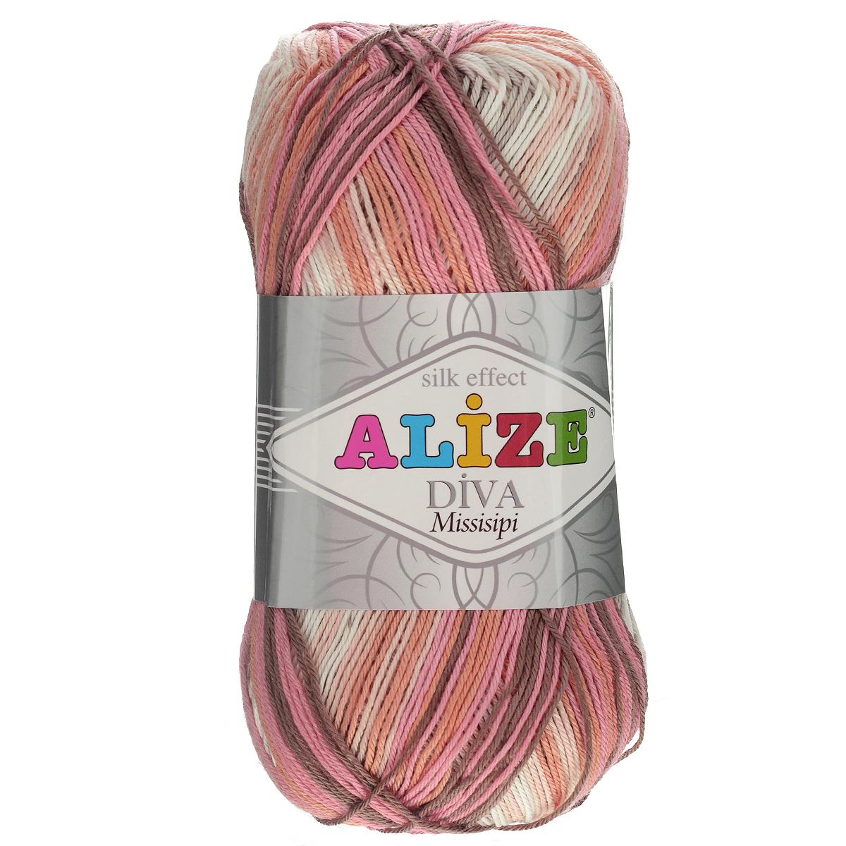 Пряжа для вязания Alize Diva. Missisipi, цвет: розовый, бежевый, коричневый (3732), 350 м, 100 г, 5 шт367020_3732Пряжа для вязания Alize Diva. Missisipi- это тщательно обработанная акриловая пряжа, которая приобретает вид мерсеризованной нити с эффектом шелка. Пряжа обладает отличными свойствами: мягкая, воздухопроницаемая, прочная. Пряжа из микрофибры считается материалом нового поколения. Легкая шелковистая пряжа удлиненной секции окрашивания для весенних или летних вещей. Приятная на ощупь, гигроскопичная она подойдет для сарафанов, туник, платьев, легких костюмов, кофт, шалей и накидок. Пряжа не скатывается, не вызывает аллергию, не линяет и не оставляет ворсинок на другой одежде. Рекомендации по уходу: деликатная ручная стирка при 30°С, не отжимать в стиральной машине, не отбеливать хлорсодержащими веществами. Глажение на минимальной температуре. Сушите на горизонтальной поверхности: предварительно придав изделию естественную форму. Рекомендованный размер спиц: №2,5-3,5. Рекомендованный размер крючка: №1-3.