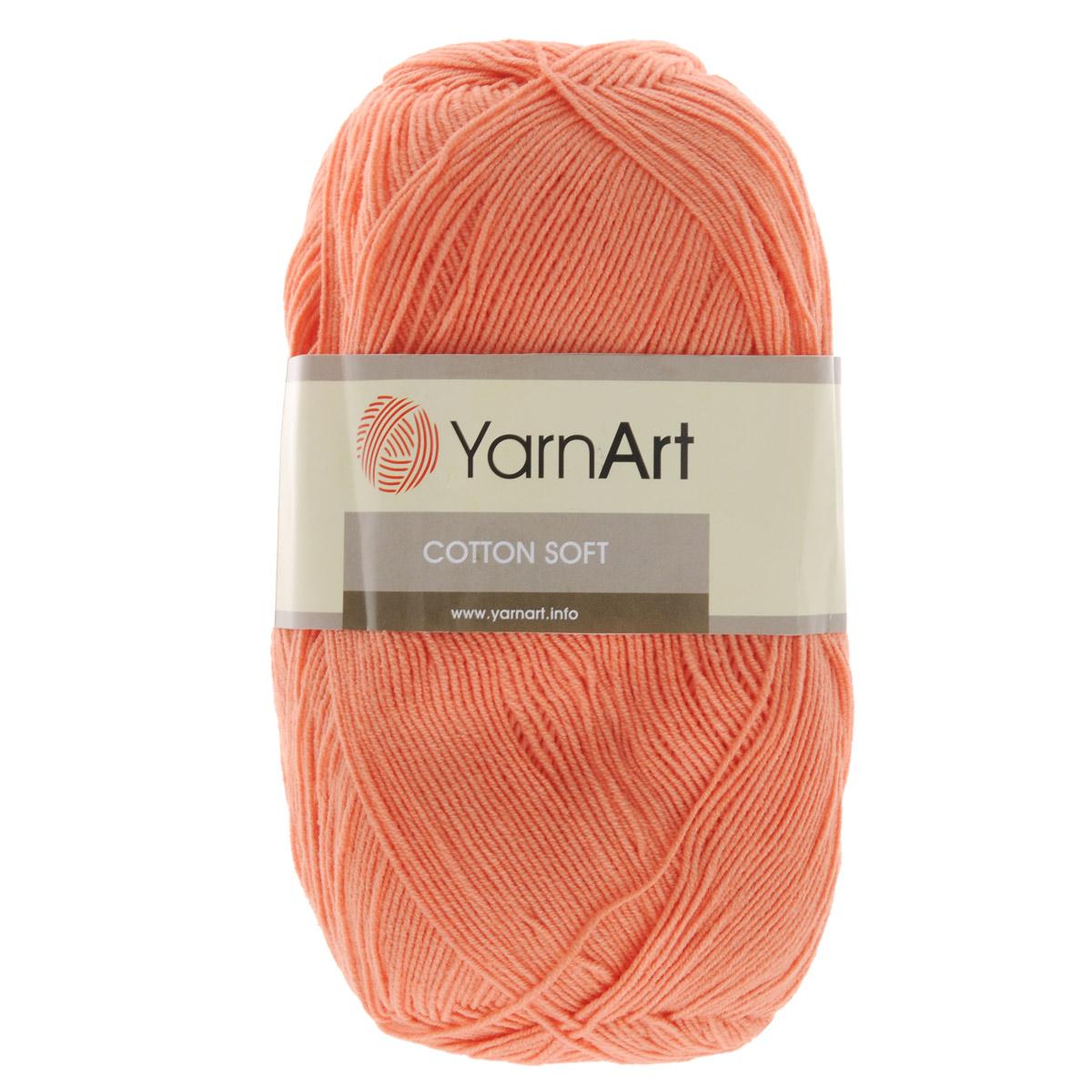 Пряжа для вязания YarnArt Cotton Soft, цвет: персиковый (23), 600 м, 100 г, 5 шт372071_23Пряжа для вязания YarnArt Cotton Soft изготовлена из хлопка и полиакрила. Эта универсальная пряжа подходит для вязания крючком и спицами, а также для машинного вязания. Нить ровная, тонкая, не линяет и не выгорает. Прекрасно подойдет для создания водолазок, платьев, юбок, шалей, а также детских вещей. Изделия из этой пряжи получаются мягкие, очень легкие, износостойкие. Цветовая гамма пряжи очень богатая, вы можете пополнить свой гардероб изделиями из неё на любой сезон: джемпером, жакетом, свитером и другими полезными и оригинальными вещами, которые прослужат вам и вашим близким очень долго и не создадут трудностей в уходе за ними. Рекомендованные спицы и крючок 2,5 мм. Состав: 55% хлопок, 45% полиакрил.