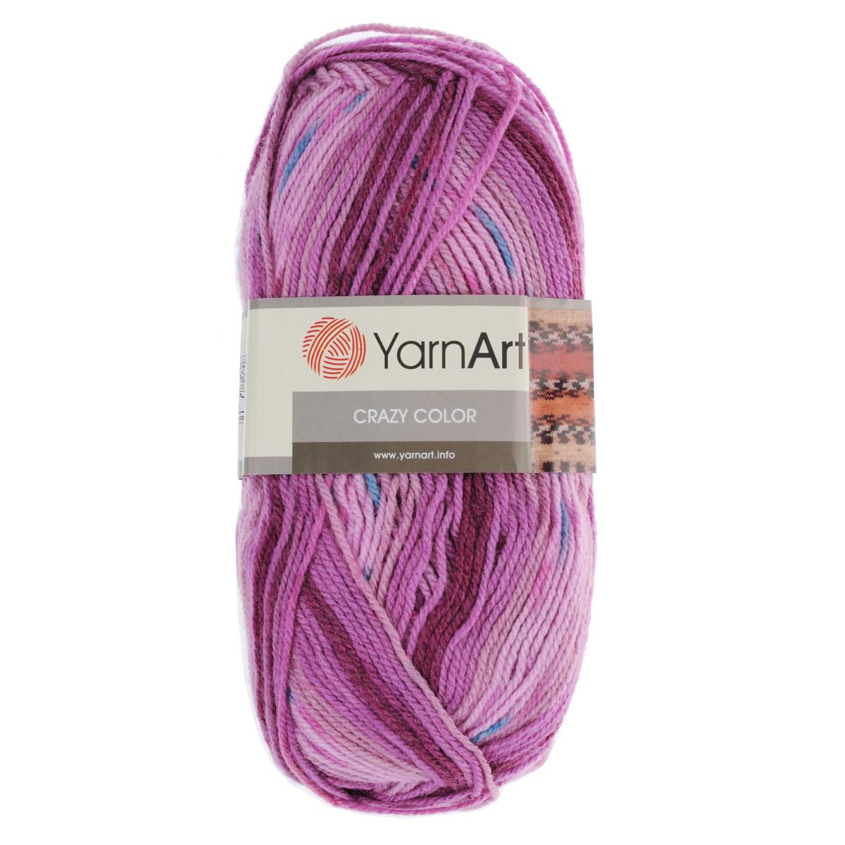 Пряжа для вязания YarnArt Crazy Color, цвет: сиреневый, светло-розовый (126), 260 м, 100 г, 5 шт372036_126Пряжа для вязания YarnArt Crazy Color изготовлена из шерсти и акрила. Эта полушерстяная классическая пряжа фантазийной окраски подходит для ручного вязания. Нить мягкая, плотной скрутки, послушная, не расслаивается, не тянется, легко распускается и не деформируется. Пряжа очень мягкая, приятная на ощупь и вяжется быстро. Ниточка очень экономная, не скатывается. В результате получаются очень оригинальные и забавные рисунки. Может с успехом применяться для вязания детской одежды, кардиганов, пуловеров и пр. Пряжа YarnArt Crazy Color - секционной окраски отлично смотрится и в простой вязке и при выполнении сложных узоров. Пряжа окрашена стойкими качественными красителями, не линяет. Рекомендуются спицы и крючок 3,5 мм. Состав: 25% шерсть, 75% акрил.