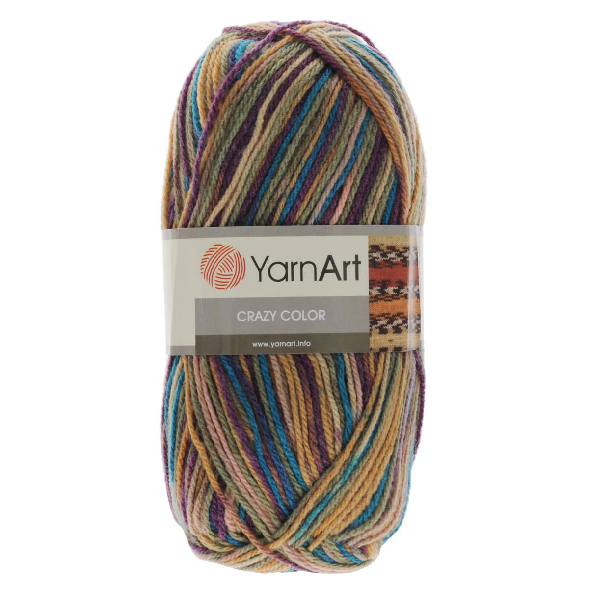 Пряжа для вязания YarnArt Crazy Color, цвет: фиолетовый, бежевый, зеленый (151), 260 м, 100 г, 5 шт372036_151Пряжа для вязания YarnArt Crazy Color изготовлена из шерсти и акрила. Эта полушерстяная классическая пряжа фантазийной окраски подходит для ручного вязания. Нить мягкая, плотной скрутки, послушная, не расслаивается, не тянется, легко распускается и не деформируется. Пряжа очень мягкая, приятная на ощупь и вяжется быстро. Ниточка очень экономная, не скатывается. В результате получаются очень оригинальные и забавные рисунки. Может с успехом применяться для вязания детской одежды, кардиганов, пуловеров и пр. Пряжа YarnArt Crazy Color - секционной окраски отлично смотрится и в простой вязке и при выполнении сложных узоров. Пряжа окрашена стойкими качественными красителями, не линяет. Рекомендуются спицы и крючок 3,5 мм. Состав: 25% шерсть, 75% акрил.