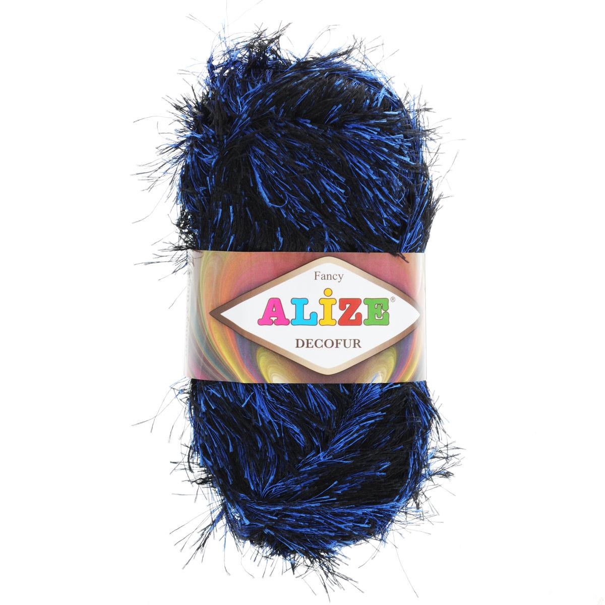 Пряжа для вязания Alize Decofur, цвет: черный, синий (1379), 110 м, 100 г, 5 шт364128_1379Пряжа для вязания Alize Decofur изготовлена из полиэстера. Пряжа-травка предназначена для ручного вязания и идеально подходит для отделки. Готовый ворс получается равным 4 см. Рекомендованные спицы для вязания 6-8 мм. Рекомендованный крючок для вязания 3-4 мм. Комплектация: 5 мотков. Состав: 100% полиэстер.