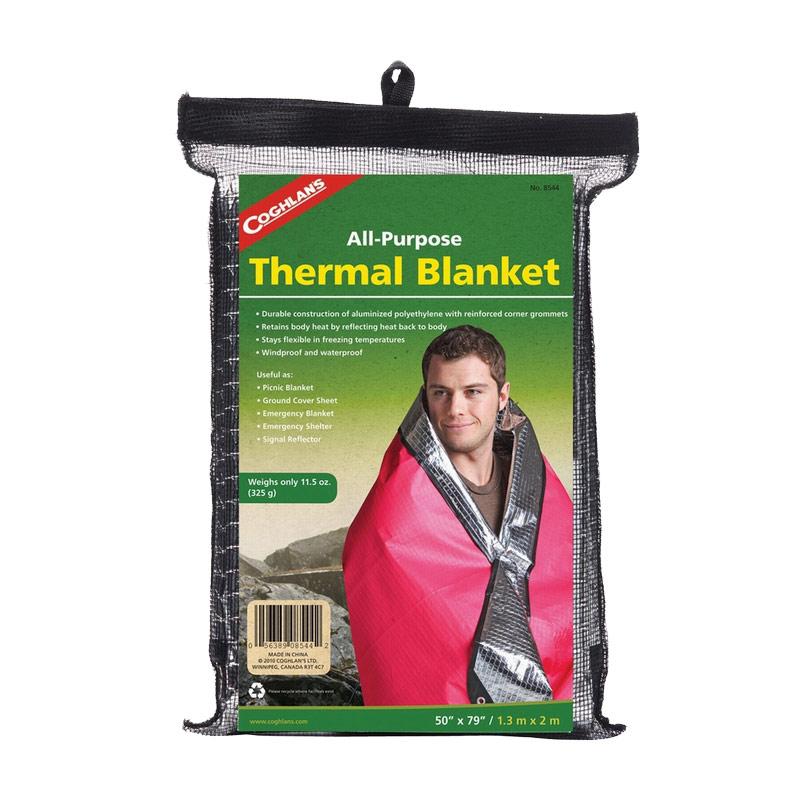 Термоодеяло Coghlans, многофункциональное, 1,3 м х 2 м8544Прочное, легкое и компактное термоодеяло Coghlans изготовлено из многослойного алюминизированного полиэтилена. Оно эффективно сохраняет тепло, защищает от воды и ветра. Износостойкое и надежное, одеяло остается эластичным и эргономичным даже в сильные морозы. Такое термоодеяло - хороший подарок для того, кто любит путешествия, загородный отдых, а также оно пригодится водителям, спортсменам и профессионалам, работающим на свежем воздухе. Изделие упаковано в черную сетку на липучке. Материал: алюминизированный полиэтилен. Размер: 1,3 м х 2 м.