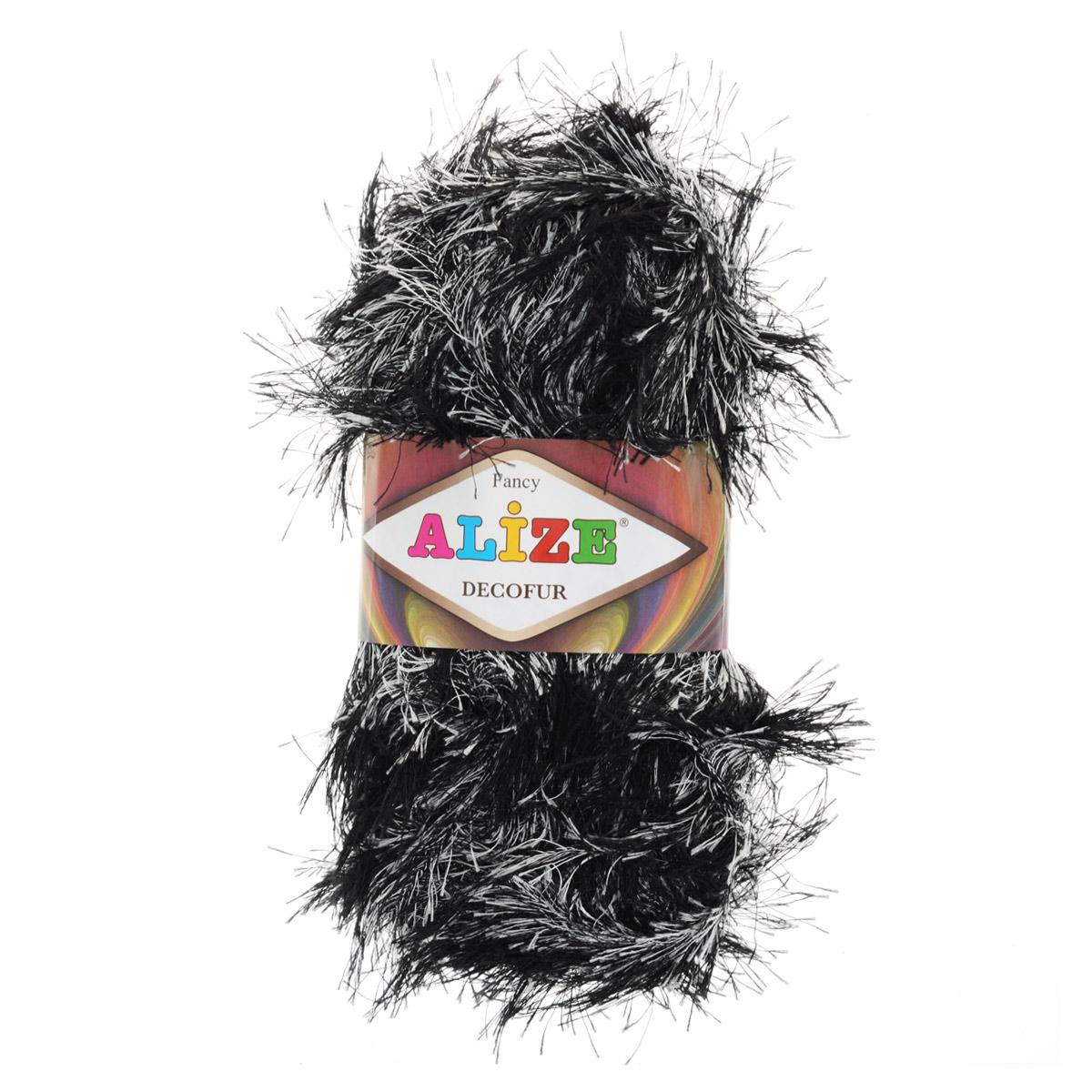 Пряжа для вязания Alize Decofur, цвет: черный, белый (1378), 110 м, 100 г, 5 шт364128_1378Пряжа для вязания Alize Decofur изготовлена из полиэстера. Пряжа-травка предназначена для ручного вязания и идеально подходит для отделки. Готовый ворс получается равным 4 см. Рекомендованные спицы для вязания 6-8 мм. Рекомендованный крючок для вязания 3-4 мм. Комплектация: 5 мотков. Состав: 100% полиэстер.