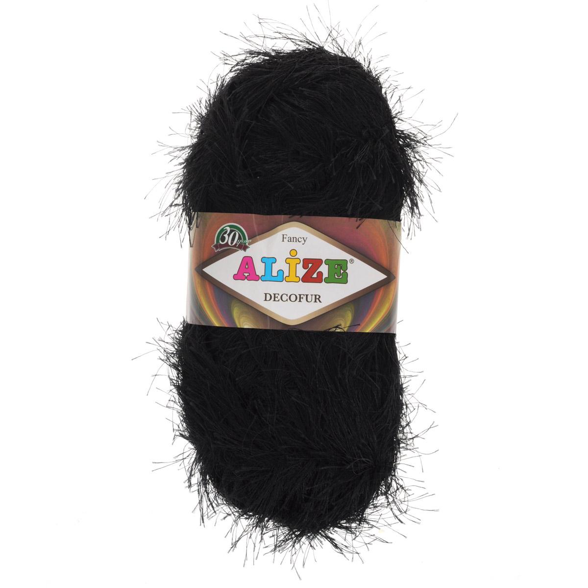 Пряжа для вязания Alize Decofur, цвет: черный (60), 110 м, 100 г, 5 шт364128_60Пряжа для вязания Alize Decofur изготовлена из полиэстера. Пряжа-травка предназначена для ручного вязания и идеально подходит для отделки. Готовый ворс получается равным 4 см. Рекомендованные спицы для вязания 6-8 мм. Рекомендованный крючок для вязания 3-4 мм. Комплектация: 5 мотков. Состав: 100% полиэстер.