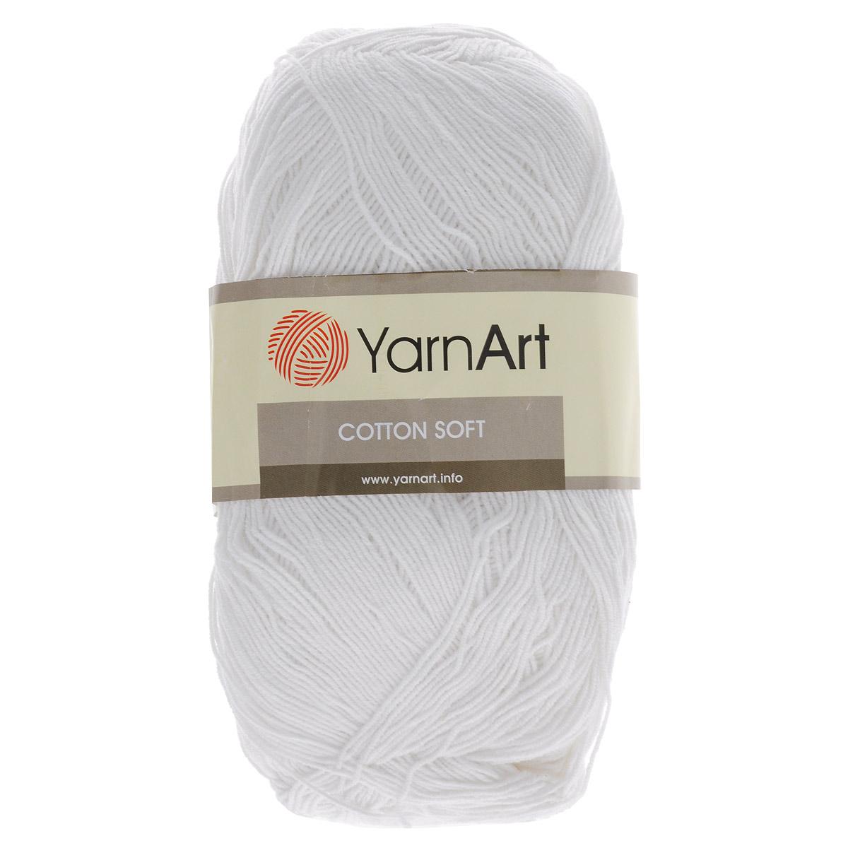 Пряжа для вязания YarnArt Cotton Soft, цвет: белый (01), 600 м, 100 г, 5 шт372071_01Пряжа для вязания YarnArt Cotton Soft изготовлена из хлопка и полиакрила. Эта универсальная пряжа подходит для вязания крючком и спицами, а также для машинного вязания. Нить ровная, тонкая, не линяет и не выгорает. Прекрасно подойдет для создания водолазок, платьев, юбок, шалей, а также детских вещей. Изделия из этой пряжи получаются мягкие, очень легкие, износостойкие. Цветовая гамма пряжи очень богатая, вы можете пополнить свой гардероб изделиями из неё на любой сезон: джемпером, жакетом, свитером и другими полезными и оригинальными вещами, которые прослужат вам и вашим близким очень долго и не создадут трудностей в уходе за ними. Рекомендованные спицы и крючок 2,5 мм. Состав: 55% хлопок, 45% полиакрил.