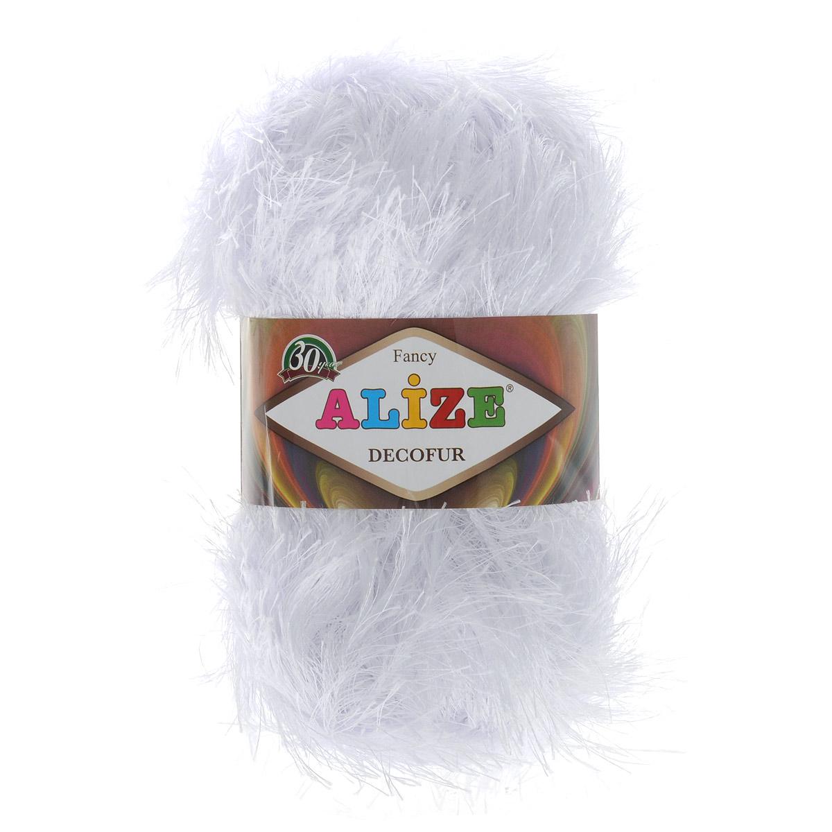 Пряжа для вязания Alize Decofur, цвет: белый (55), 110 м, 100 г, 5 шт364128_55Пряжа для вязания Alize Decofur изготовлена из полиэстера. Пряжа-травка предназначена для ручного вязания и идеально подходит для отделки. Готовый ворс получается равным 4 см. Рекомендованные спицы для вязания 6-8 мм. Рекомендованный крючок для вязания 3-4 мм. Комплектация: 5 мотков. Состав: 100% полиэстер.