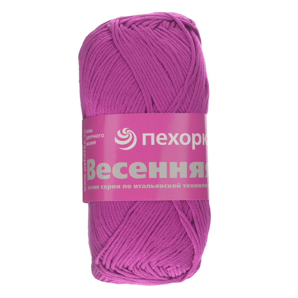 Пряжа для вязания Пехорка Весенняя, цвет: темно-лиловый (87), 250 м, 100 г, 5 шт360069_87_87-Т.лиловыйФактура пряжи Пехорка Весенняя представлена стабильной веревочкой. Изготовлена из 100% мерсеризованного хлопка. Толщина нити идеально подходит для изделий, которые можно носить в летнюю прохладную погоду. Гигиенична, приятна для тела. Рекомендуемый размер спиц №3,5-4. Состав: 100% мерсеризованный хлопок.