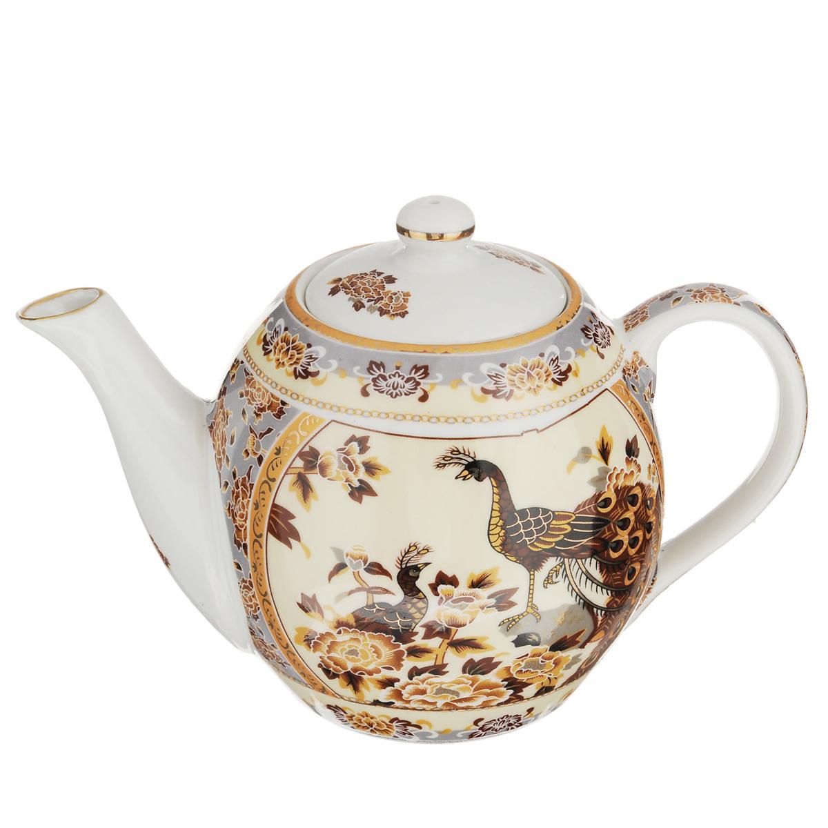 Чайник заварочный Saguro Павлин на бежевом, 470 мл543-283Заварочный чайник Saguro Павлин на бежевом изготовлен из высококачественного фарфора и покрыт слоем сверкающей глазури. Посуда оформлена изысканным изображением павлинов и эмалью золотистого цвета. Такой чайник прекрасно дополнит сервировку стола к чаепитию и станет его неизменным атрибутом. Не использовать в микроволновой печи. Объем: 470 мл. Диаметр (по верхнему краю): 6 см. Высота стенки (без учета крышки): 9 см.