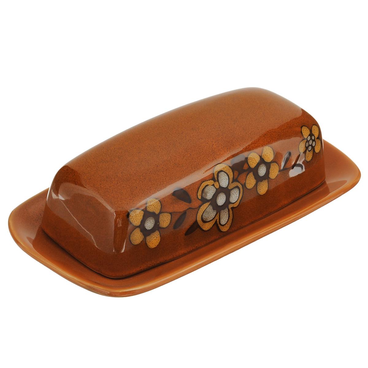Масленка Korall Каменный цветок, цвет: оранжевый. 734906734906Масленка Korall Каменный цветок, выполненная из высококачественной керамики, предназначена для красивой сервировки и хранения масла. Она состоит из подноса и крышки, оформленной оригинальным цветочным рисунком. Масло в ней долго остается свежим, а при хранении в холодильнике не впитывает посторонние запахи. Можно мыть в посудомоечной машине. Размер подноса: 21 см х 11,5 см х 2 см. Размер крышки: 17 см х 8 см х 4,5 см.