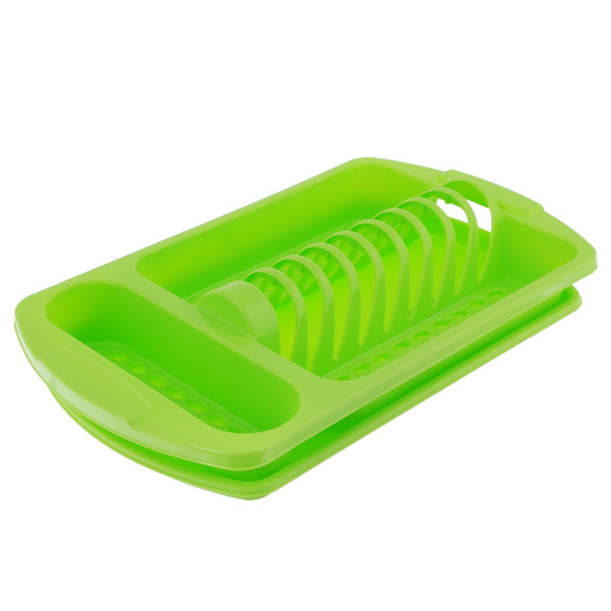 Сушилка для посуды Альтернатива Хозяюшка, с поддоном, цвет: салатовыйМ1768салатовыйНастольная сушилка Альтернатива Хозяюшка, выполненная из высококачественного пластика, представляет собой подставку с ячейками, в которые помещается посуда, и отделением для столовых приборов. Изделие оснащено поддоном для сливания в него воды. Сушилка не займет много места на вашей кухне, а вы сможете разместить на ней большое количество предметов. Размер сушилки: 43 см х 25 см х 7 см. Размер поддона: 41 см х 24 см х 2 см. Размер отделения для столовых приборов: 23 см х 7 см.
