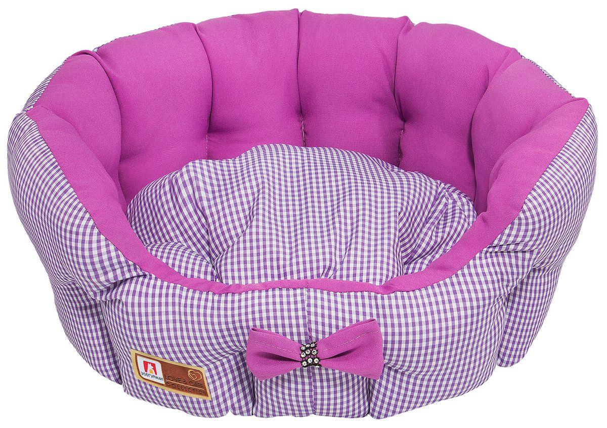 """Лежак для собак и кошек Зоогурман """"Каприз"""", цвет: розовый, диаметр 45 см"""