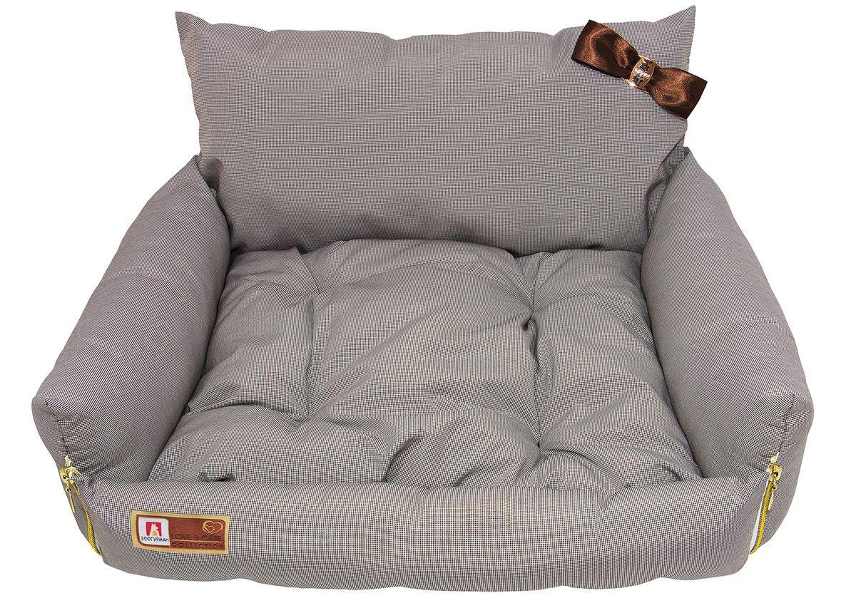 """Лежак для собак и кошек Зоогурман """"Жемчужина"""", цвет: коричневый, белый, 40 х 45 х 40 см"""