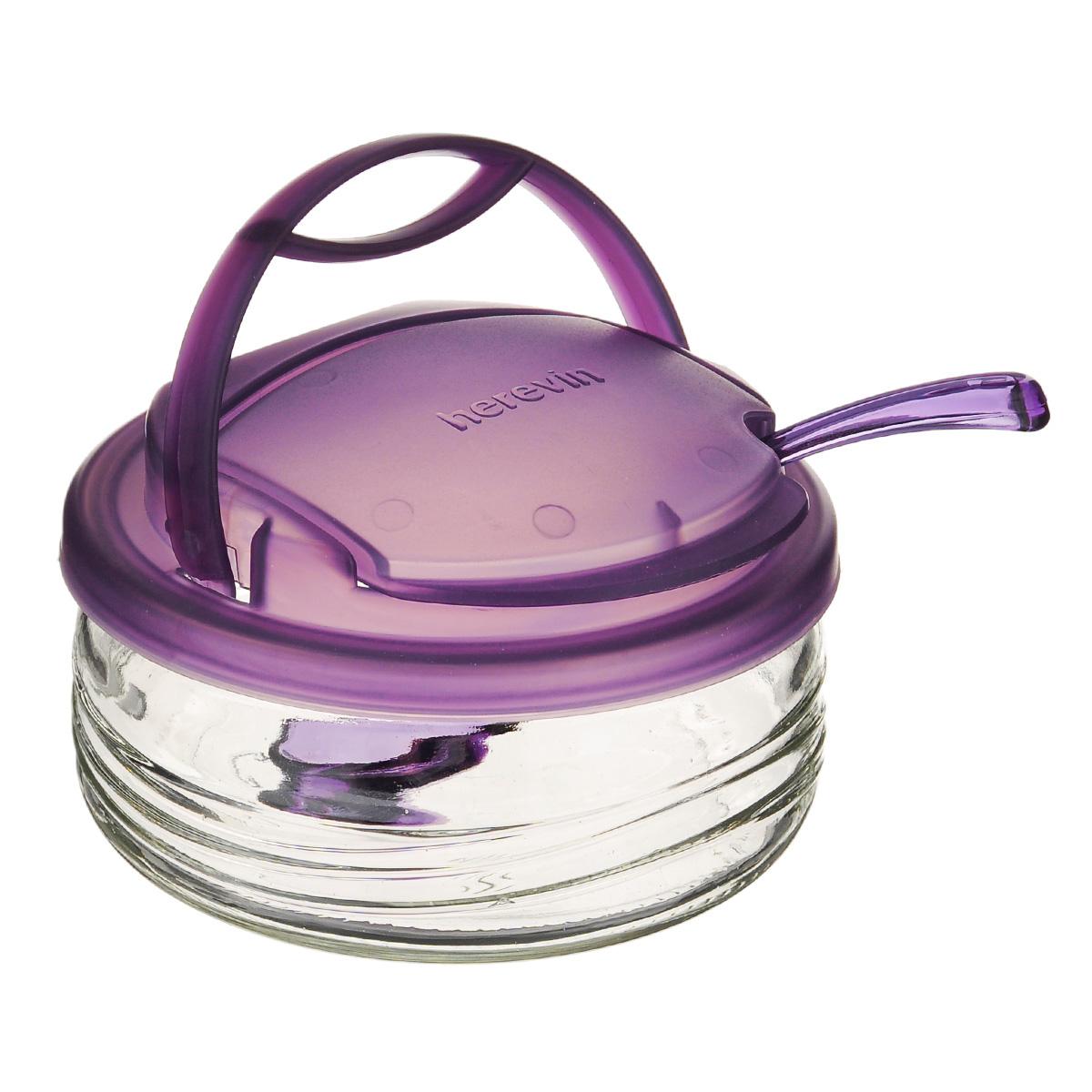 Сахарница Vera, с ложечкой, цвет: фиолетовый, 410 млS131555Сахарница Vera выполнена из высококачественного стекла и оснащена удобной съемной пластиковой крышкой. Крышка имеет специальное отверстие с поднимающимся козырьком. Чтобы насыпать сахар, вам достаточно будет поднять козырек и зачерпнуть нужное количество сахара. В набор входит специальная пластиковая ложечка. Такая оригинальная сахарница непременно украсит любой стол и прекрасно впишется в интерьер кухни. Объем: 410 мл. Диаметр сахарницы (по верхнему краю): 12 см. Высота сахарницы (с учетом крышки): 7 см. Длина ложечки: 13 см. Размер рабочей поверхности ложечки: 3,5 см х 3 см.