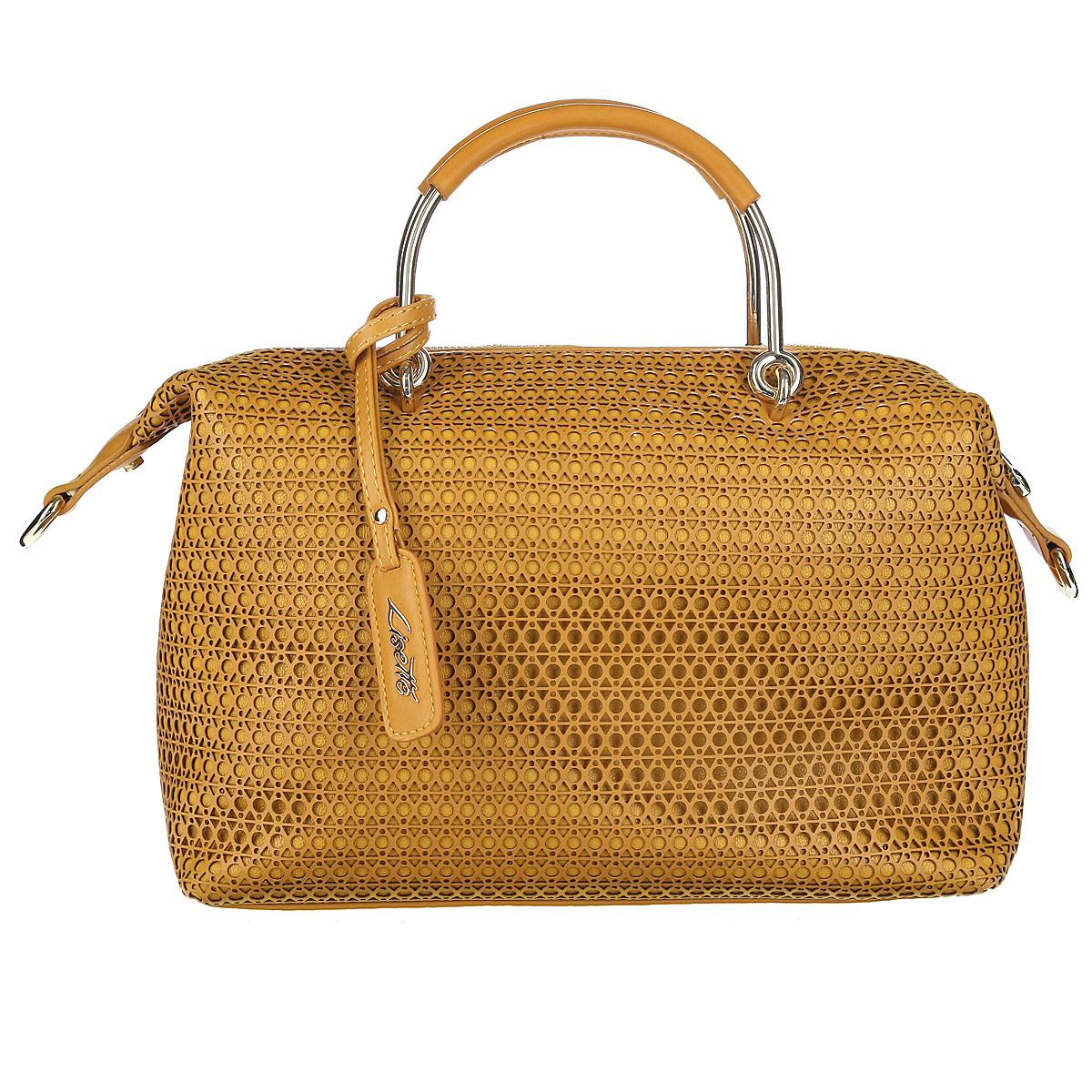 Сумка женская Lisette, цвет: коричневый. 12-R38215B12-R38215BСтильная и необычная сумка из коллекции Lisette выполнена из высококачественной искусственной перфорированной кожи. Сумка имеет одно отделение, закрывающееся на молнию. Внутри есть врезной карман на застежке-молнии, накладной кармашек для мелочей и накладной карман для телефона, закрывающийся на клапан. Две металлические ручки обтянуты искусственной кожей и крепятся на металлическую фурнитуру. Сумка дополнена брелоком на ремешке с логотипом бренда. В комплекте съемный плечевой ремень регулируемой длины. В комплекте чехол для хранения. Сумка - это стильный аксессуар, который подчеркнет вашу изысканность и индивидуальность и сделает ваш образ завершенным. Изысканный декор, стильная фурнитура, классическая форма в сочетании с вместительностью и удобством делают эту модель прекрасным дополнением к вашему образу.