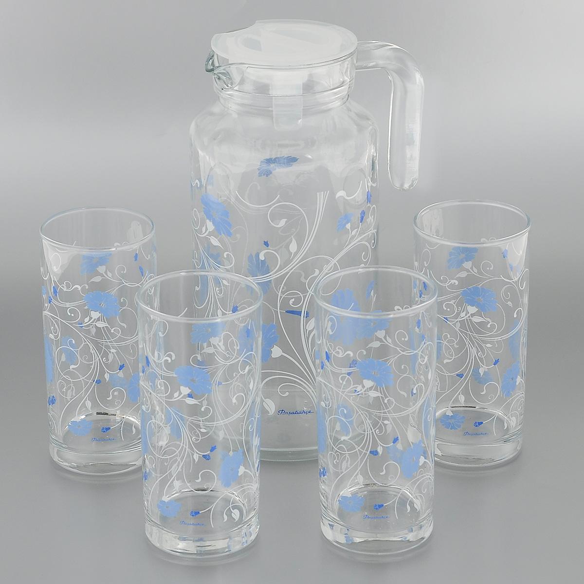 Набор для воды Pasabahce Workshop Serenade, цвет: синий, 5 предметов95895BD2Набор Pasabahce Workshop Serenade состоит из четырех стаканов и кувшина, выполненных из прочного натрий-кальций-силикатного стекла. Предметы набора, декорированные цветочным рисунком, предназначены для воды, сока и других напитков. Кувшин снабжен пластиковой, плотно закрывающейся крышкой. Изделия сочетают в себе элегантный дизайн и функциональность. Благодаря такому набору пить напитки будет еще вкуснее. Набор для воды Pasabahce Workshop Serenade прекрасно оформит праздничный стол и создаст приятную атмосферу. Такой набор также станет хорошим подарком к любому случаю. Можно мыть в посудомоечной машине и использовать в микроволновой печи. Объем кувшина: 1,3 л. Диаметр кувшина (по верхнему краю): 7,5 см. Высота кувшина (без учета крышки): 22,5 см. Объем стакана: 290 мл. Диаметр стакана (по верхнему краю): 5,5 см. Высота стакана: 13 см.