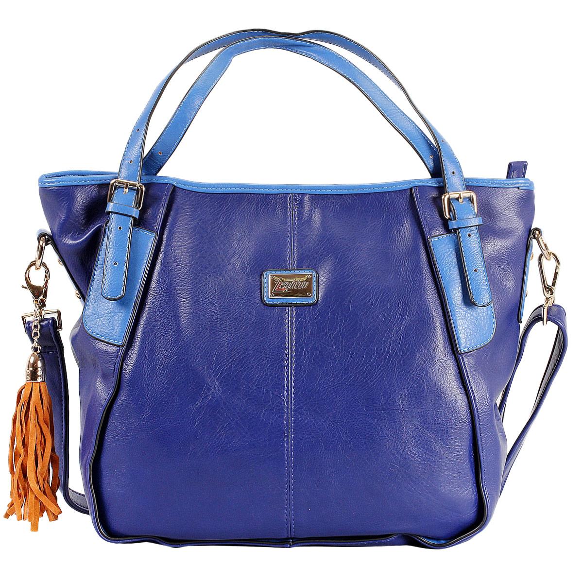 Сумка женская Leighton, цвет: синий. 7656276562-292/45/292/20/551Женская сумка Leighton выполнена из высококачественной искусственной кожи, оформлена небольшой пластинкой с логотипом бренда и декоративной кисточкой из искусственной замши. Модель закрывается на застежку-молнию. Внутри - одно отделение, разделенное карманом-средником на застежке-молнии, также есть два накладных кармашка для мелочей и телефона и врезной карман на застежке-молнии. Задняя сторона дополнена плоским врезным карманом на застежке-молнии. Ручки сумки крепится на металлическую фурнитуру. В комплекте - съемный плечевой ремень и чехол для хранения. Яркий дизайн сумки, сочетающий классические формы с оригинальным оформлением, позволит вам подчеркнуть свою индивидуальность и сделает ваш образ изысканным и завершенным.