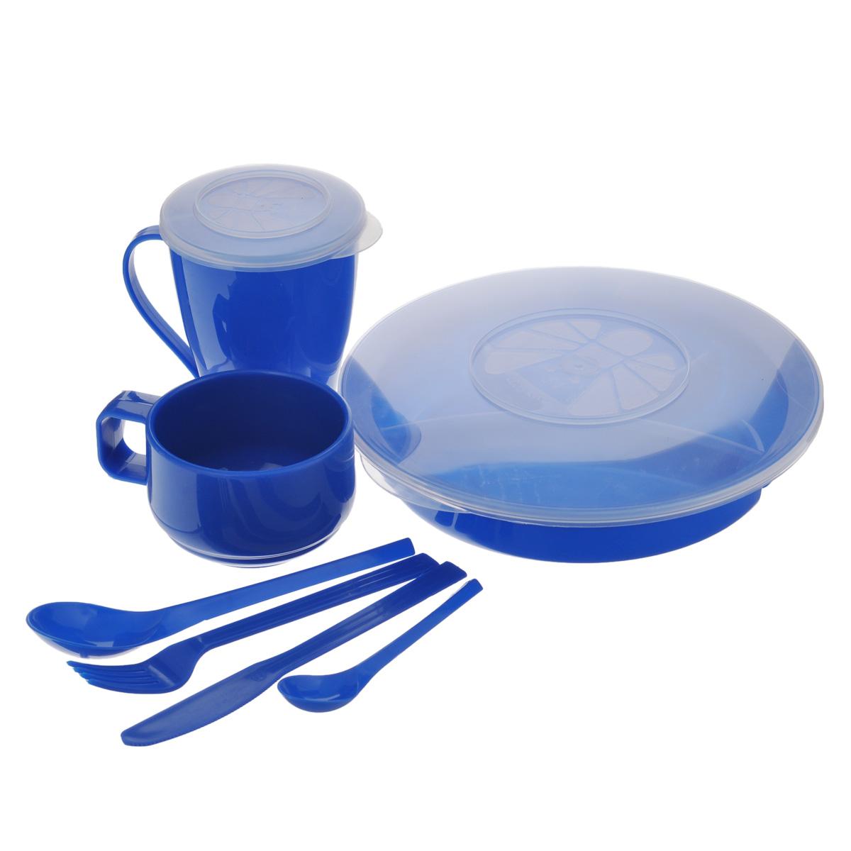 Набор посуды Solaris Вахтовый метод, цвет: синий, на 1 персонуS1101Компактный набор посуды Solaris Вахтовый метод, выполненный из качественного полипропилена, в удобной виниловой сумке с ручкой и молнией. Свойства посуды: Посуда из ударопрочного пищевого полипропилена предназначена для многократного использования. Легкая, прочная и износостойкая, экологически чистая, эта посуда работает в диапазоне температур от -25°С до +110°С. Можно мыть в посудомоечной машине. Эта посуда также обеспечивает: Хранение горячих и холодных пищевых продуктов; Разогрев продуктов в микроволновой печи; Приготовление пищи в микроволновой печи на пару (пароварка); Хранение продуктов в холодильной и морозильной камере; Кипячение воды с помощью электрокипятильника. Состав набора: Менажница с герметичной крышкой; Чашка для супа с герметичной крышкой, объем 0,5 л; Чашка объемом 0,28 л; Вилка; Ложка столовая; Нож; Ложка чайная. Диаметр менажницы: 22,5 см. Высота менажницы: 5...