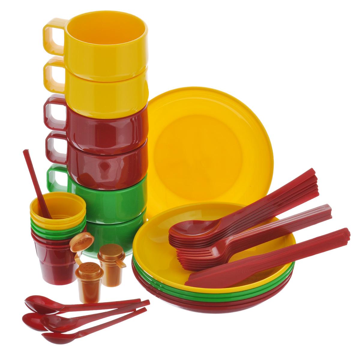 Набор посуды Solaris, на 6 персонS1601Компактный минималистичный набор посуды Solaris на 6 персон, в удобной виниловой сумке с ручкой и молнией. Свойства посуды: Посуда из ударопрочного пищевого полипропилена предназначена для многократного использования. Легкая, прочная и износостойкая, экологически чистая, эта посуда работает в диапазоне температур от -25°С до +110°С. Можно мыть в посудомоечной машине. Эта посуда также обеспечивает: Хранение горячих и холодных пищевых продуктов; Разогрев продуктов в микроволновой печи; Приготовление пищи в микроволновой печи на пару (пароварка); Хранение продуктов в холодильной и морозильной камере; Кипячение воды с помощью электрокипятильника. Комплектация набора на 6 персон: 6 тарелок; 6 чашек объемом 0,28 л; 6 стаканов с мерными делениями объемом 0,1 л; 6 вилок; 6 столовых ложек; 6 ножей; 6 чайных ложек; 2 солонки. Диаметр тарелок: 19 см. Высота тарелок: 3 см. Высота...