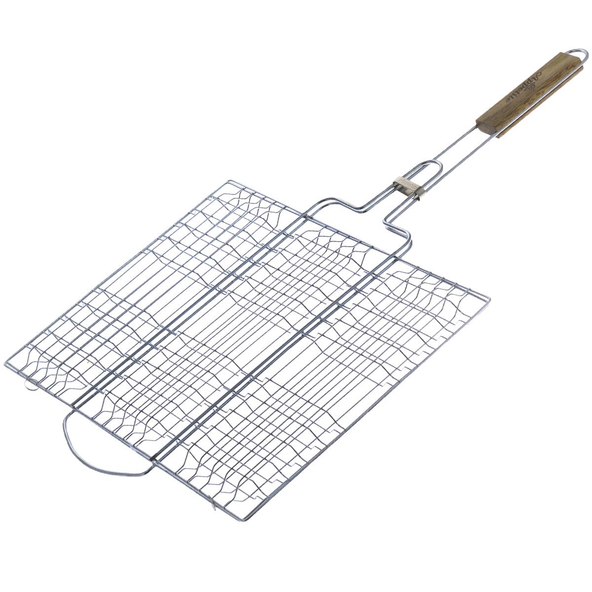 Решетка-гриль Appetite, плоская, 40 х 30 смFC-3pРешетка-гриль Appetite изготовлена из стали с хромированным покрытием. Приготовление вкусных блюд из рыбы, мяса или птицы на пикнике становится еще более быстрым и удобным с использованием решетки-гриль. Изделие имеет деревянную вставку на ручке, предохраняющую руки от ожогов и позволяющую без труда перевернуть решетку. Надежное кольцо-фиксатор гарантирует, что решетка не откроется, и продукты не выпадут. Размер рабочей поверхности: 40 см х 30 см. Длина ручки: 32 см.