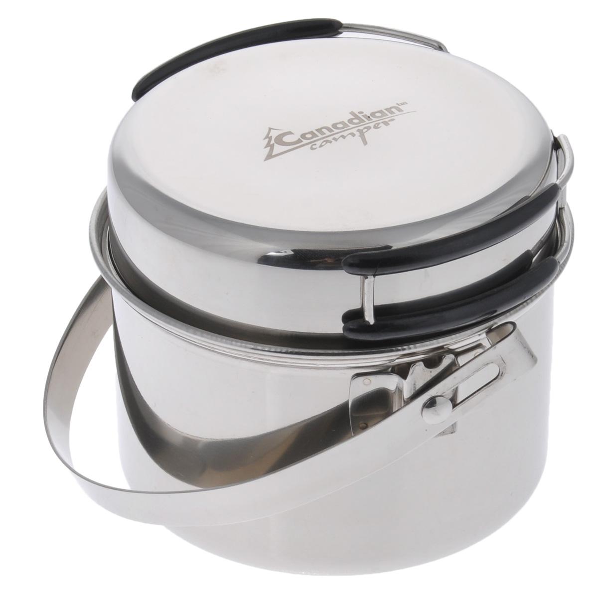 Набор посуды Canadian Camper CC-PF095, 2 предмета32100034В набор посуды Canadian Camper CC-PF095 входит котелок и сковорода. Предметы набора выполнены из высококачественной нержавеющей стали. Сковорода оснащена складными ручками, покрытыми теплоизоляционным материалом. Котелок также оснащен складной ручкой из нержавеющей стали. Сковороду можно использовать как крышку для котелка. В комплекте сетчатая сумка для переноски и хранения. Диаметр сковороды: 12,7 см. Высота сковороды: 3,6 см. Диаметр котелка: 13,1 см. Объем котелка: 0,95 л. Высота котелка: 8 см.
