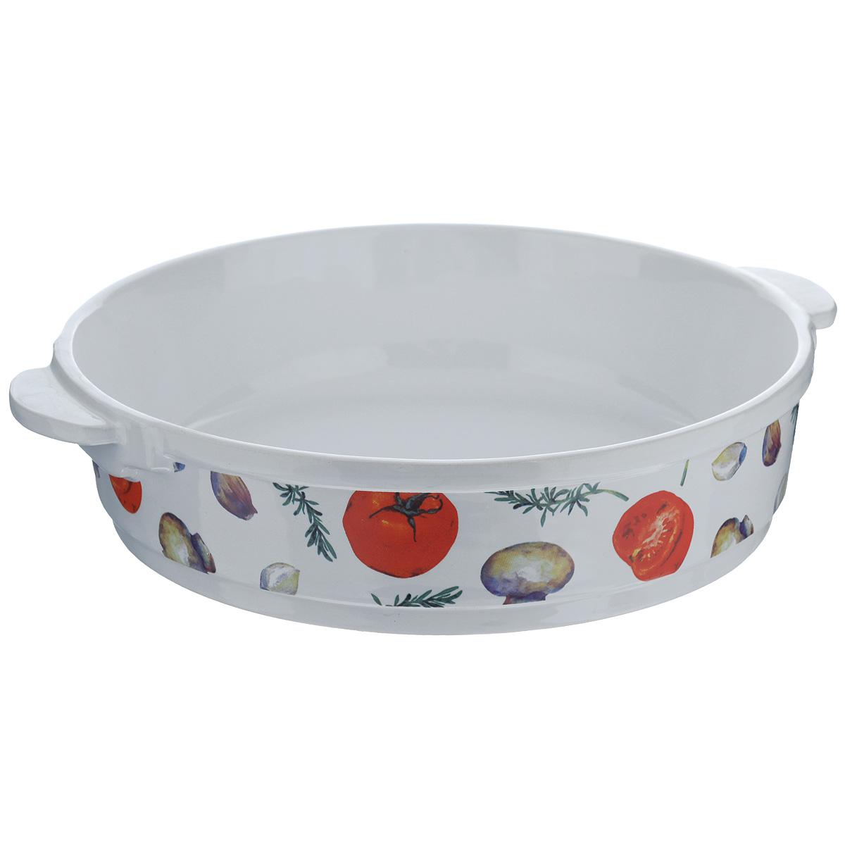 Форма для запекания Едим Дома Прованс, круглая, диаметр 26 смPRV069Круглая форма для запекания Едим Дома Прованс изготовлена из жаропрочной керамики, покрытой глазурью. Такая керамика выдерживает температуру от -30°С до +220°С, что позволяет использовать ее и в холодильнике, и в духовке. Изделие декорировано изображением овощей. Форма идеальна для запекания мяса и овощей. Оснащена удобными ручками. Можно использовать в микроволновой печи и духовке. Можно мыть в посудомоечной машине. Внутренний диаметр формы: 26 см. Размер формы (с учетом ручек): 30 см х 26 см. Высота стенки: 6,5 см.