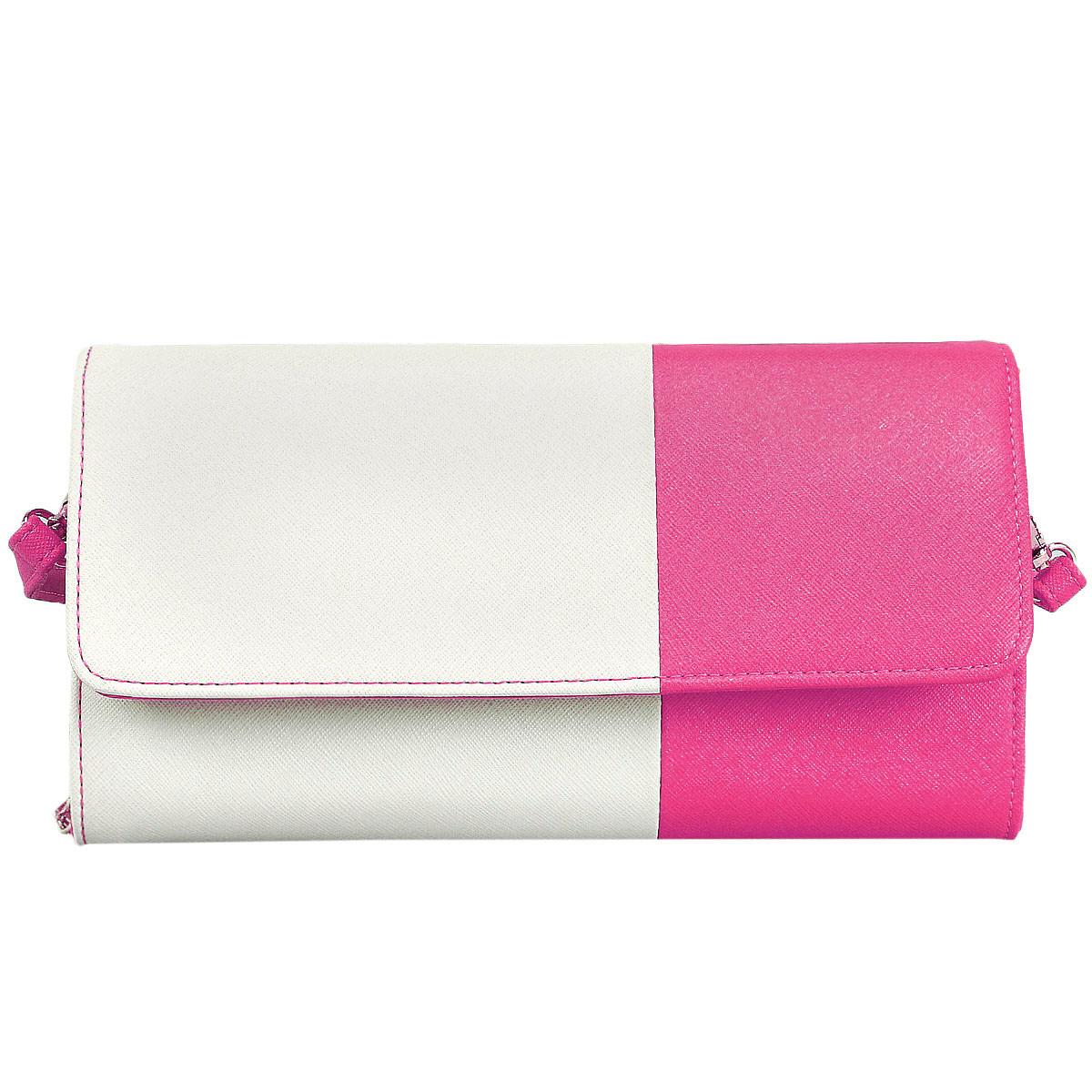 Сумка-клатч женская Leighton, цвет: молочный, розовый. 10656-376910656-3769/23/3769/20 бежСтильная женская сумка-клатч Leighton выполнена из высококачественной искусственной кожи. Модель закрывается клапаном на магнитную кнопку. Внутри - два открытых отделения и одно на застежке-молнии. Клатч содержит множество плоских карманов и отделений для визитных и кредитных карточек. Под клапаном - три плоских открытых кармана. В комплекте - два ремешка, разной длины и чехол для хранения. Яркий дизайн сумки, сочетающий классические формы с оригинальным оформлением, позволит вам подчеркнуть свою индивидуальность и сделает ваш образ изысканным и завершенным.