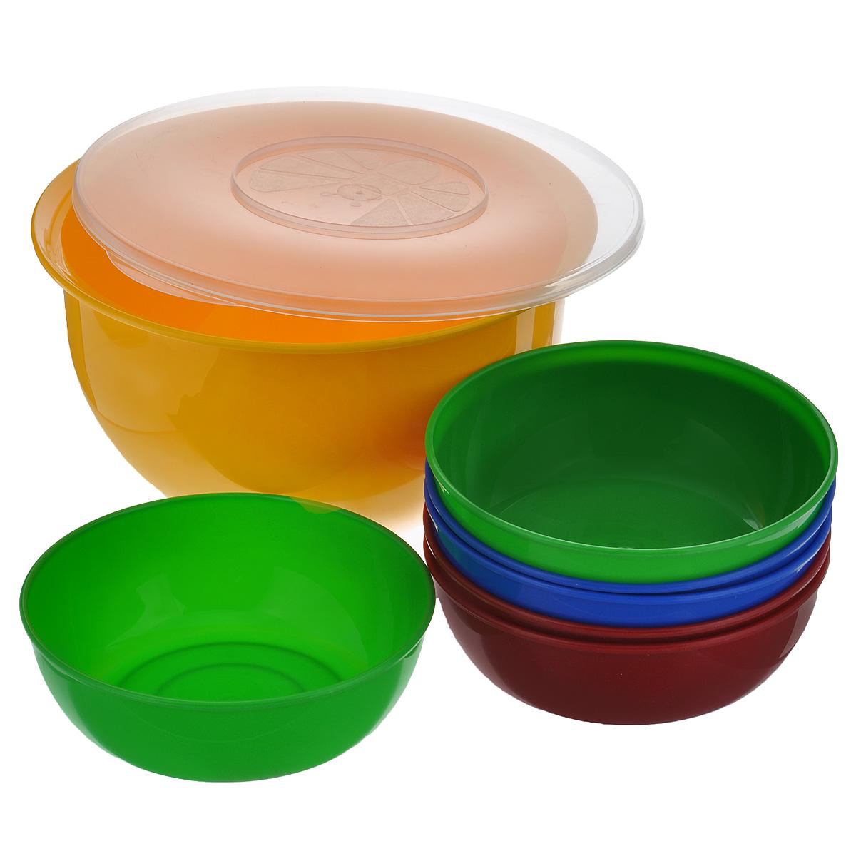 Набор посуды Solaris, 7 предметов. S1606S1606В состав набора Solaris входит 6 универсальных мисок и большая миска с герметичной крышкой. Большую миску можно использовать как пищевой контейнер, для приготовления салата, мариновки шашлыка и т.п. Свойства посуды: Посуда из ударопрочного пищевого полипропилена предназначена для многократного использования. Легкая, прочная и износостойкая, экологически чистая, эта посуда работает в диапазоне температур от -25°С до +110°С. Можно мыть в посудомоечной машине. Эта посуда также обеспечивает: Хранение горячих и холодных пищевых продуктов; Разогрев продуктов в микроволновой печи; Приготовление пищи в микроволновой печи на пару (пароварка); Хранение продуктов в холодильной и морозильной камере; Кипячение воды с помощью электрокипятильника. Объем большой миски: 3 л. Диаметр большой миски: 22,5 см. Высота большой миски: 12,7 см. Объем небольших мисок: 0,6 л. Диаметр небольших мисок: 15,3 см. Высота небольших...
