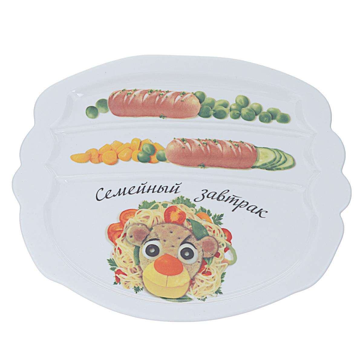 Тарелка для завтрака LarangE Семейный завтрак у льва, 22,5 см х 19 см589-313Тарелка для завтрака LarangE Семейный завтрак у льва изготовлена из высококачественной керамики. Изделие украшено изображением льва из еды. Тарелка имеет три отделения: 2 маленьких отделения для сосисок и одно большое отделение для яичницы или другого блюда. Можно использовать в СВЧ печах, духовом шкафу и холодильнике. Не применять абразивные чистящие вещества. Размер тарелки: 22,5 см х 19,5 см х 1 см.