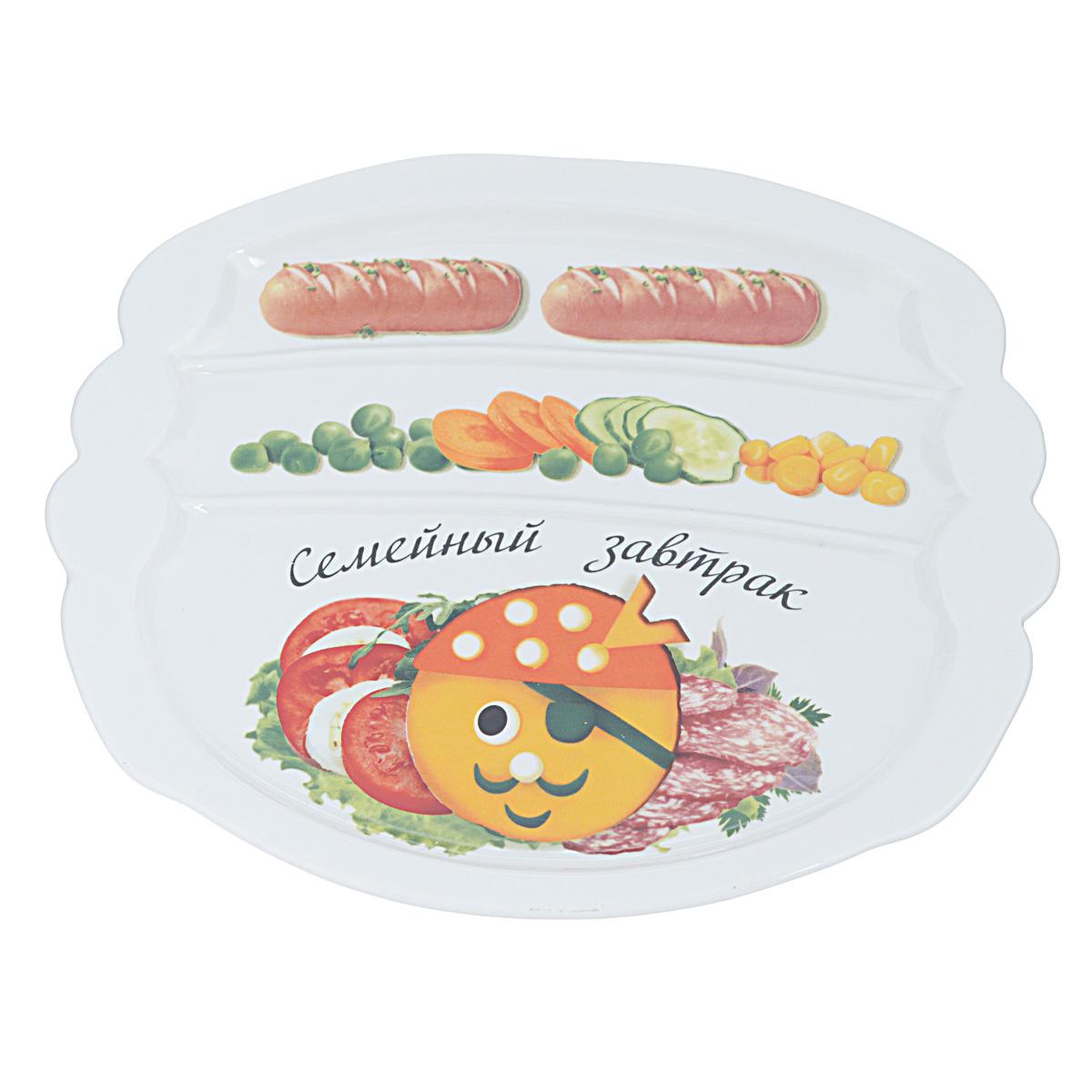 Тарелка для завтрака LarangE Семейный завтрак у пирата, 22,5 х 19 см589-312Тарелка для завтрака LarangE Семейный завтрак у пирата изготовлена из высококачественной керамики. Изделие украшено изображением пирата из еды. Тарелка имеет три отделения: 2 маленьких отделения для сосисок и одно большое отделение для яичницы или другого блюда. Можно использовать в СВЧ печах, духовом шкафу и холодильнике. Не применять абразивные чистящие вещества. Размер тарелки: 22,5 см х 19,5 см х 1 см.