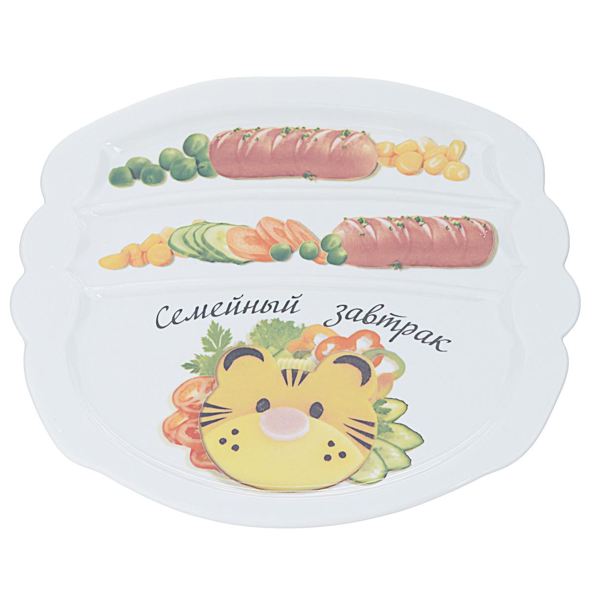 Тарелка для завтрака LarangE Семейный завтрак у тигра, 22,5 см х 19 см589-311Тарелка для завтрака LarangE Семейный завтрак у тигра изготовлена из высококачественной керамики. Изделие украшено изображением тигра из еды. Тарелка имеет три отделения: 2 маленьких отделения для сосисок и одно большое отделение для яичницы или другого блюда. Можно использовать в СВЧ печах, духовом шкафу и холодильнике. Не применять абразивные чистящие вещества. Размер тарелки: 22,5 см х 19,5 см х 1 см.
