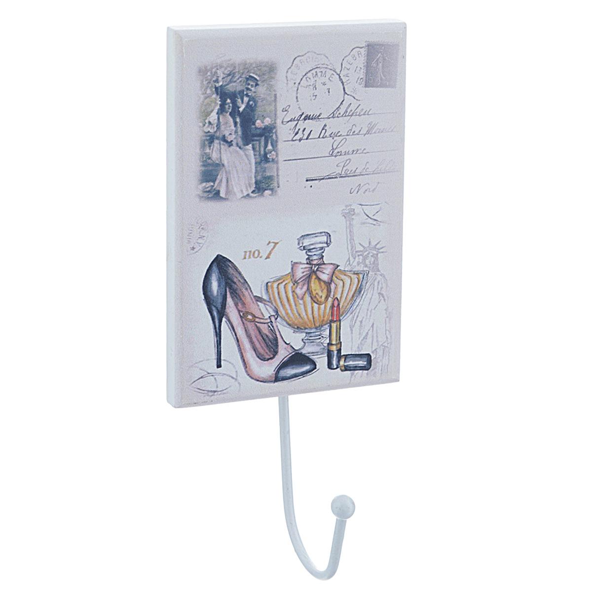 Вешалка настенная Феникс-презент. 3373433734Стильная и прочная вешалка Феникс-презент изготовлена из МДФ и украшена изображением дамских аксессуаров. Изделие оснащено металлическим крючком, на который удобно вешать сумку, зонтик или ключи. С обратной стороны вешалка имеет металлическую петельку, за которую ее можно повесить в любое удобное место. Вешалка Феникс-презент украсит интерьер вашей прихожей. Размер вешалки: 8,2 см х 12 см. Длина крючка: 7,5 см.