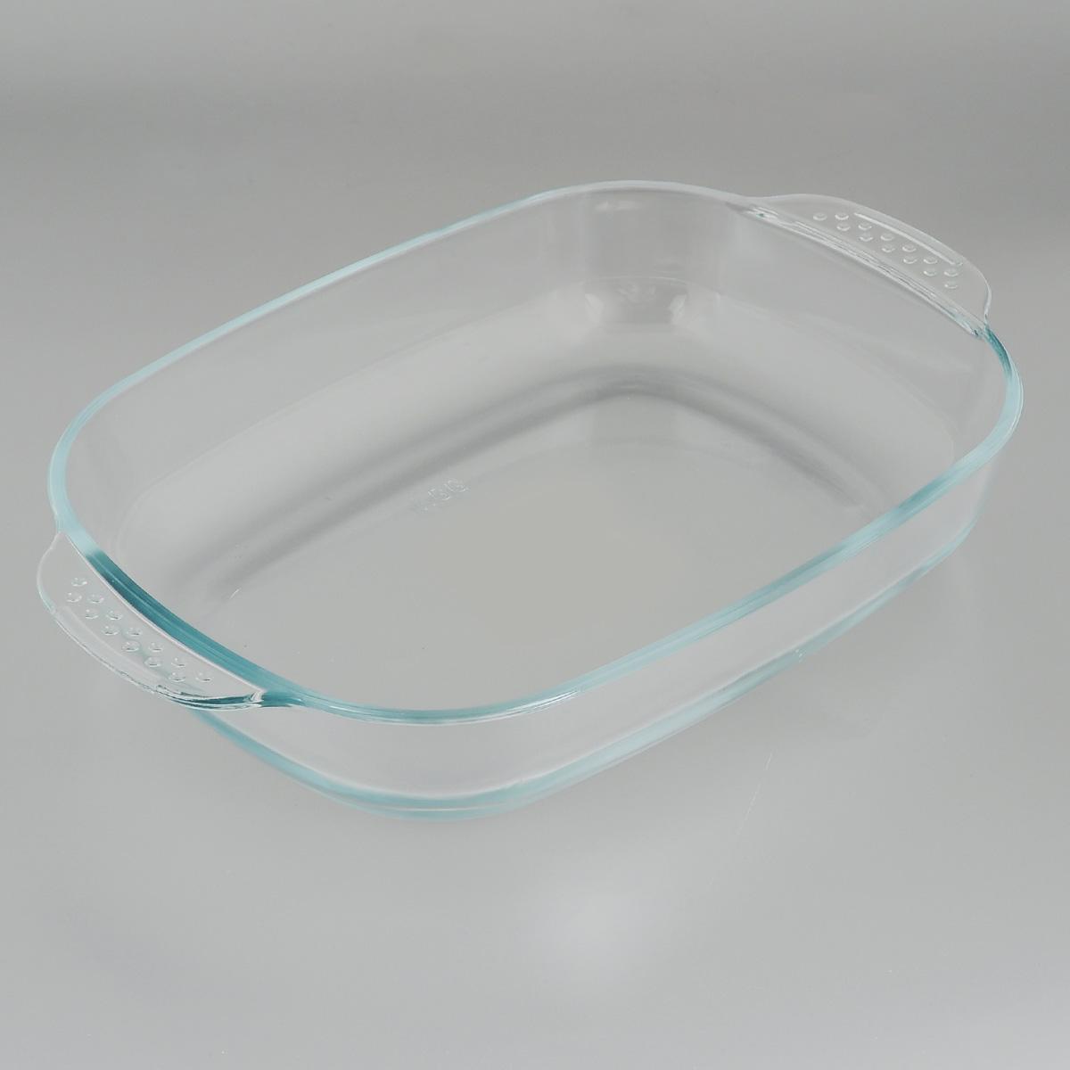 Форма для запекания Mijotex, прямоугольная, 34 х 22 смPLH5Прямоугольная форма для запекания Mijotex изготовлена из жаропрочного стекла, которое выдерживает температуру до +450°С. Форма предназначена для приготовления горячих блюд. Оснащена двумя ручками. Материал изделия гигиеничен, прост в уходе и обладает высокой степенью прочности. Форма идеально подходит для использования в духовках, микроволновых печах, холодильниках и морозильных камерах. Также ее можно использовать на газовых плитах (на слабом огне) и на электроплитах. Можно мыть в посудомоечной машине. Внутренний размер формы: 29 см х 22 см. Внешний размер формы (с учетом ручек): 34 см х 22 см. Высота стенки формы: 6 см.