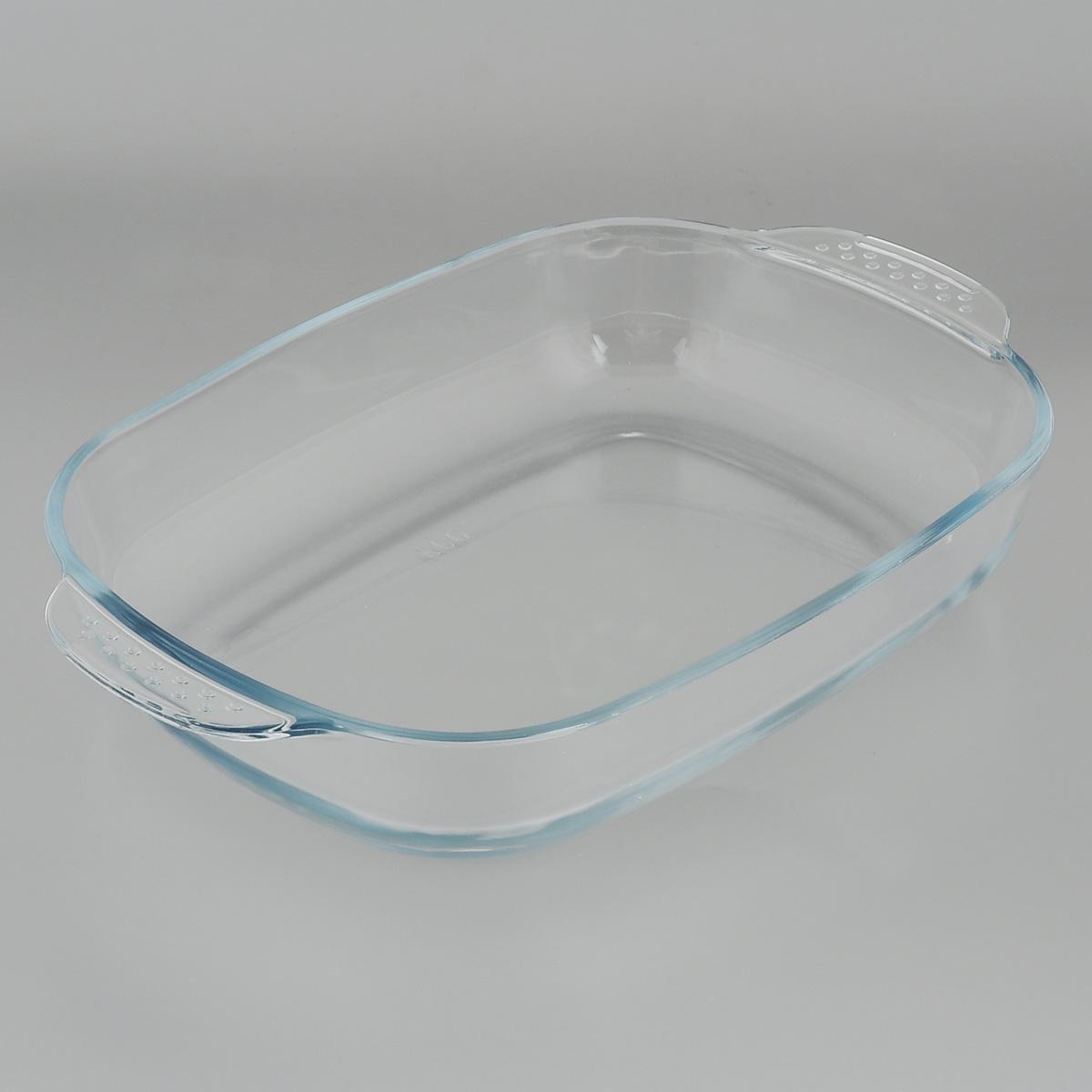Форма для запекания Mijotex, прямоугольная, 41 см х 26 смPLH4Прямоугольная форма для запекания Mijotex изготовлена из жаропрочного стекла, которое выдерживает температуру до +450°С. Форма предназначена для приготовления горячих блюд. Оснащена двумя ручками. Материал изделия гигиеничен, прост в уходе и обладает высокой степенью прочности. Форма идеально подходит для использования в духовках, микроволновых печах, холодильниках и морозильных камерах. Также ее можно использовать на газовых плитах (на слабом огне) и на электроплитах. Можно мыть в посудомоечной машине. Внутренний размер формы: 35,5 см х 26 см. Внешний размер формы (с учетом ручек): 41 см х 26 см. Высота стенки формы: 6 см.