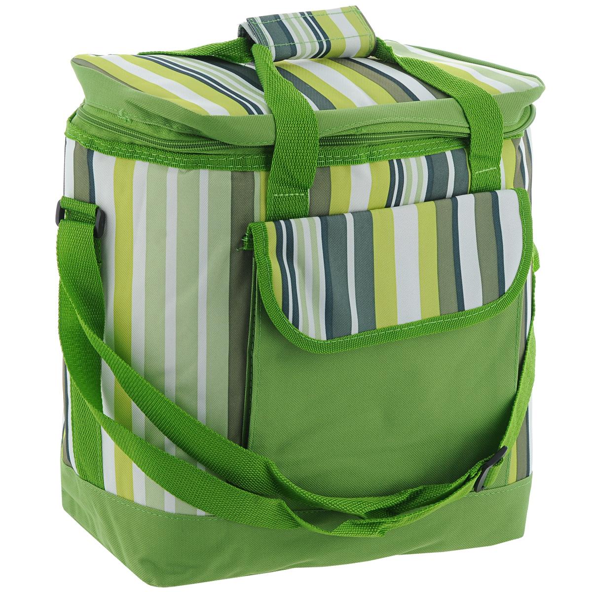 Термосумка Green Glade, цвет: зеленый, 20 л. Р1620Р1620Изотермическая термосумка Green Glade пригодится на любом пикнике. Изнутри термосумка отделана специальным теплоизолирующим материалом, способным надолго сохранить холод, даже в жару. Сохранение температурного режима до 12 часов. Снаружи сумка изготовлена из плотного полиэстера с принтом в разноцветную вертикальную полоску. Достаточно вместительна, подходит для хранения и пищи, и напитков. Имеет одно основное отделение, закрывающееся на молнию. Спереди содержится кармашек для хранения столовых приборов и салфеток, закрывающийся клапаном на липучку. Для удобной переноски сумка оснащена двумя ручками и отстегивающимся плечевым ремнем. Сумка идеально подходит для отдыха на природе, пикников, туристических походов и путешествий.