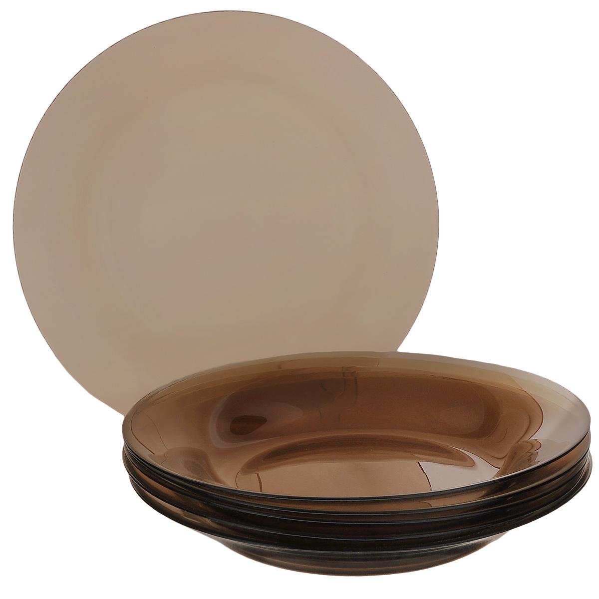 Набор тарелок Pasabahce Workshop Bronze, диаметр 22 см, 6 шт. 10331BZ10331BZНабор Pasabahce Workshop Bronze, выполненный из высококачественного натрий-кальций-силикатного тонированного стекла, состоит из шести суповых тарелок и предназначен для красивой сервировки различных блюд. Набор сочетает в себе изысканный дизайн с максимальной функциональностью. Оригинальность оформления придется по вкусу и ценителям классики, и тем, кто предпочитает утонченность и изящность. Можно использовать в холодильной камере и в микроволновой печи. Можно мыть в посудомоечной машине. Диаметр тарелки: 22 см. Высота тарелки: 3 см.