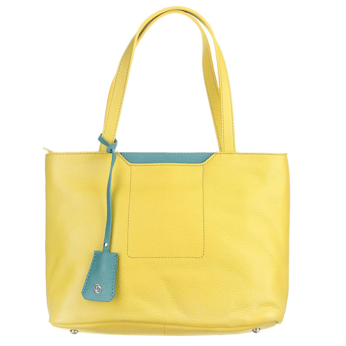 Сумка женская Pimobetti, цвет: желтый, зеленый. 13868BS-W113868BS-W1_желтый, зеленыйСумка женская Pimobetti выполнена из натуральной кожи. Сумка с одним отделением, застегивающимся на молнию. Внутри один карман на молнии, два кармашка для мелочей и один карман на кнопке. На задней поверхности сумки один карман на молнии, на передней поверхности - один кармашек на кнопке. Сумка снабжена двумя удобными ручками. На дне сумки - четыре металлические ножки. В комплект входит брелок. Размер брелока: 4 см х 20 см.