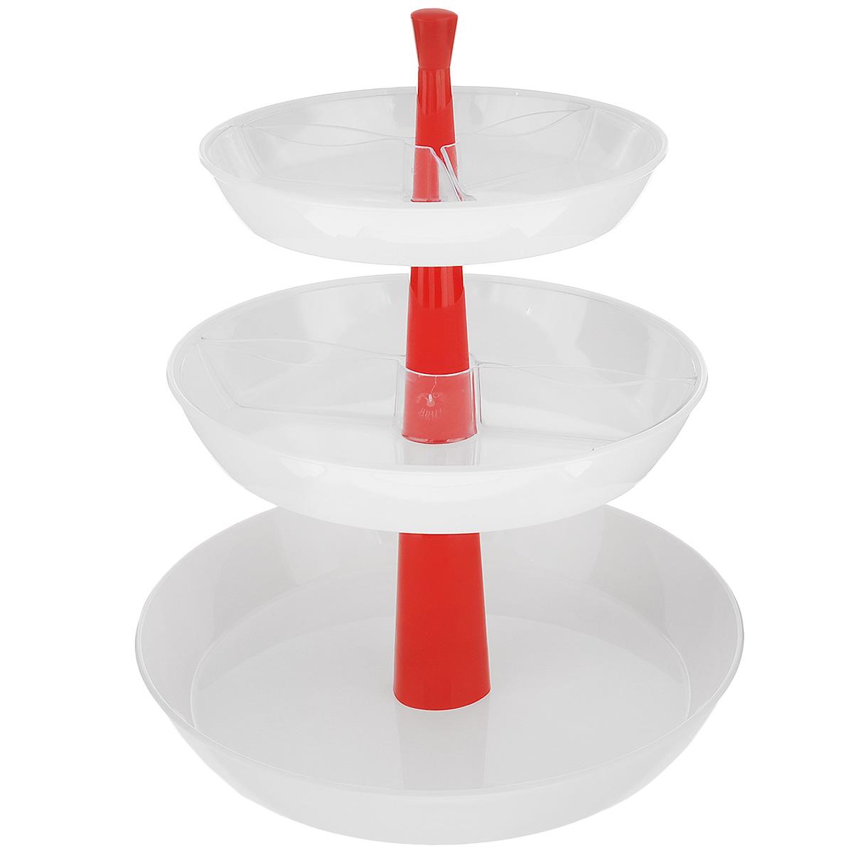 Этажерка глубокая для закусок Tescoma Presto, трехъярусная, цвет: белый, красный, высота 30 см420719Трехъярусная этажерка Tescoma Presto идеально подходит для стильной сервировки чипсов, орешков, печенья, конфет, фруктов, ягод и т.д. Изготовлена из высококачественного прочного пластика. Состоит из трех глубоких пластиковых блюд. Прозрачные съемные миски помогут красиво разложить большое количество закусок и при этом не смешивать их. Этажерку легко собрать и разобрать, она удобна для хранения. Блюда пригодны для мытья в посудомоечной машине, раскладной центральный стержень мыть в посудомоечной машине нельзя. Высота этажерки: 30 см. Диаметр блюд: 17,5 см, 21 см, 26 см. Высота стенок блюд: 4 см.